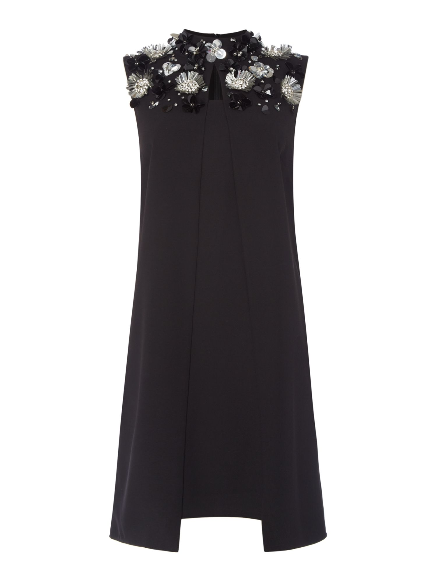 ISSA Mila Embellished Dress, Black