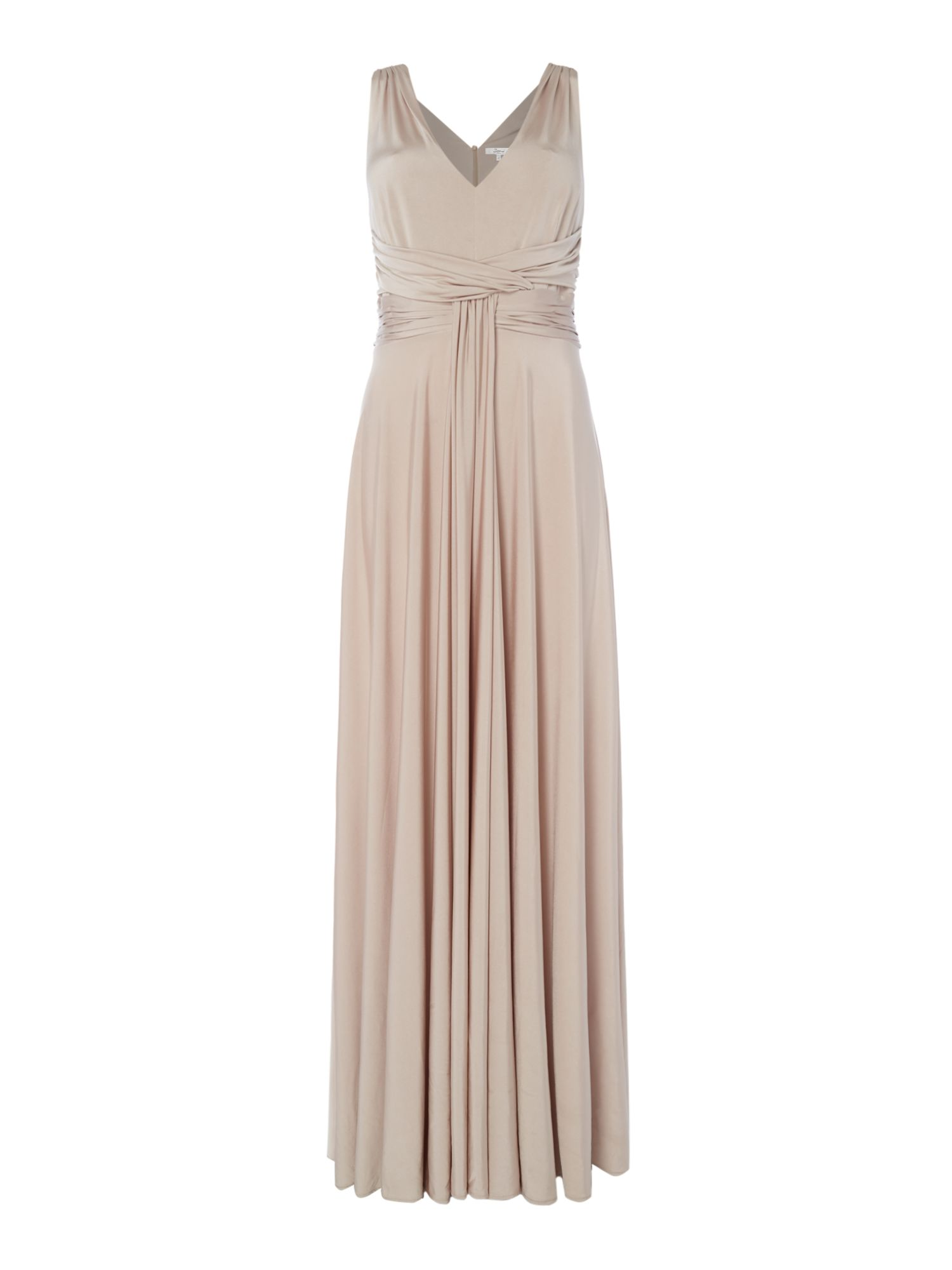 ISSA Luna Ruched Maxi Dress, Champagne