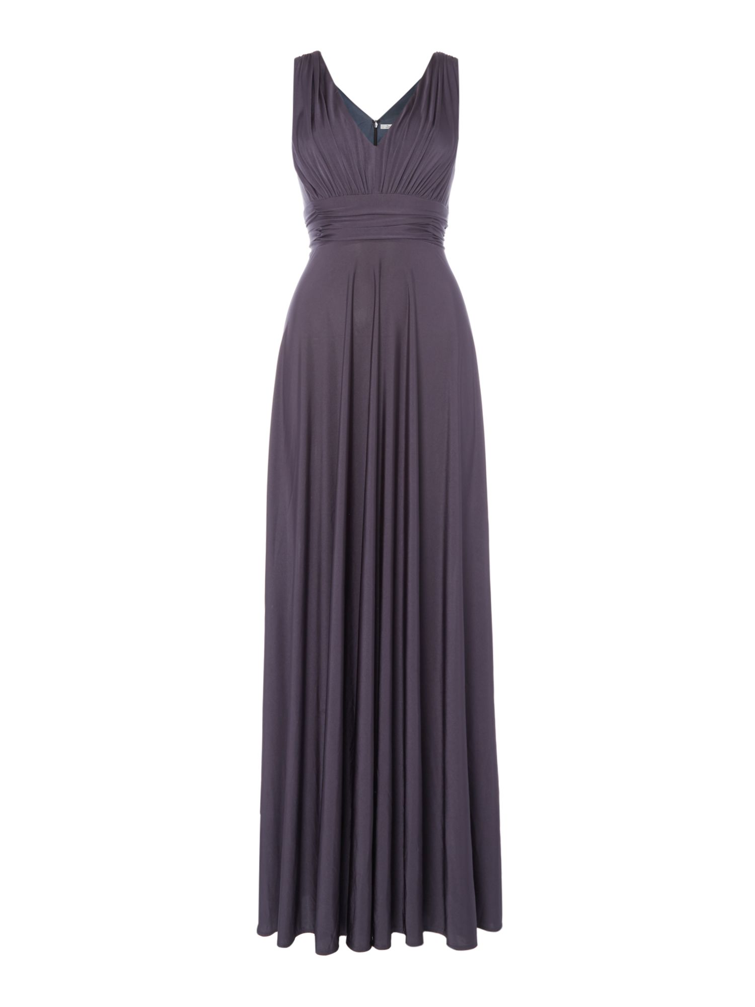 ISSA Olivia Deep V Maxi Dress, Silver