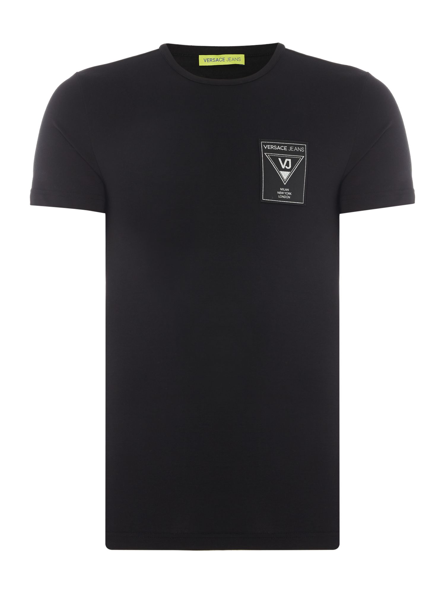 Men's Versace Jeans Embroidered Badge Crew Neck T-Shirt, Black