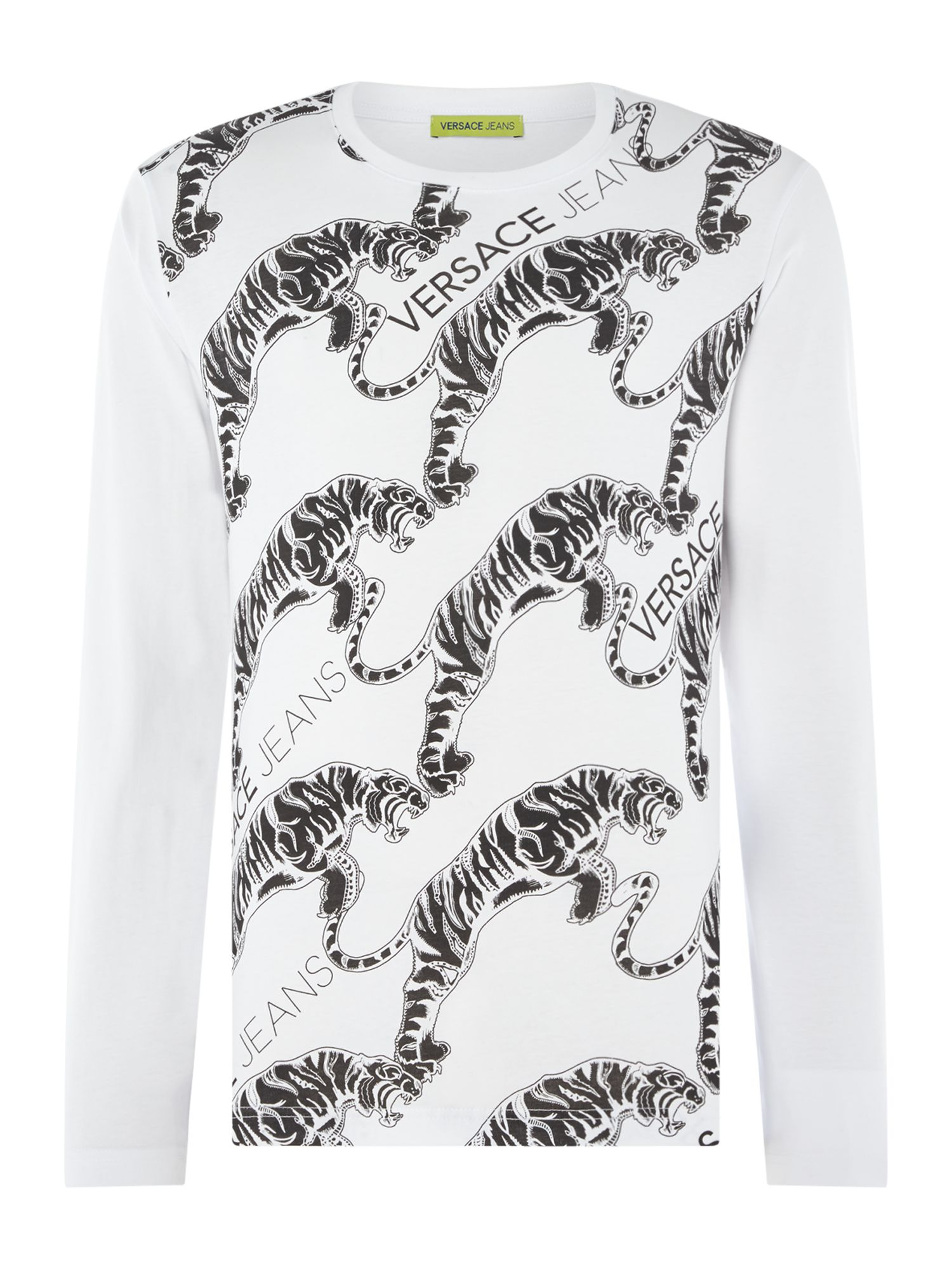 Men's Versace Jeans All Over Tiger Print Long Sleeve T-Shirt, White
