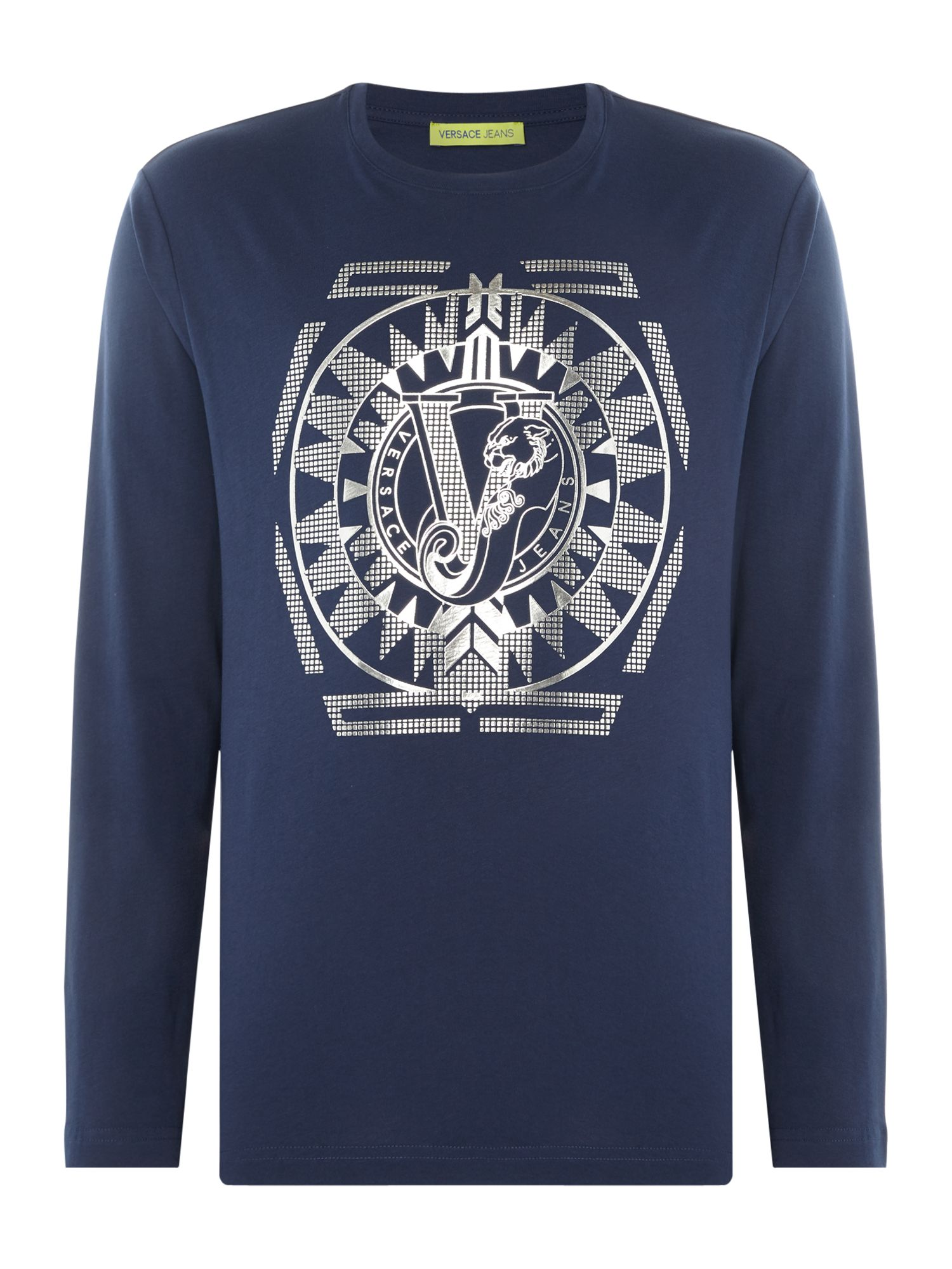 Men's Versace Jeans Foil Geo Logo Crew Neck Long Sleeve T-Shirt, Blue