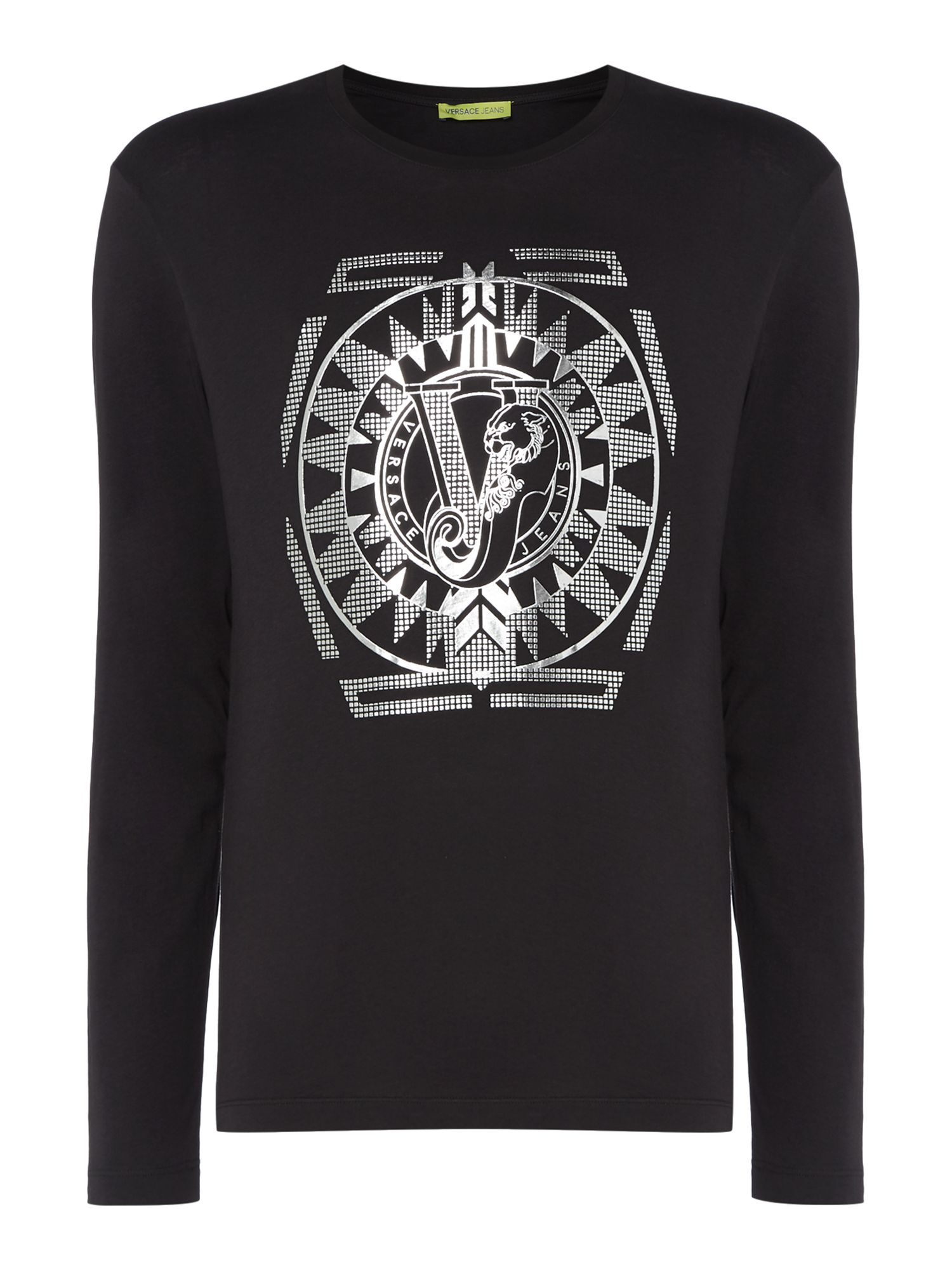Men's Versace Jeans Foil Geo Logo Crew Neck Long Sleeve T-Shirt, Black