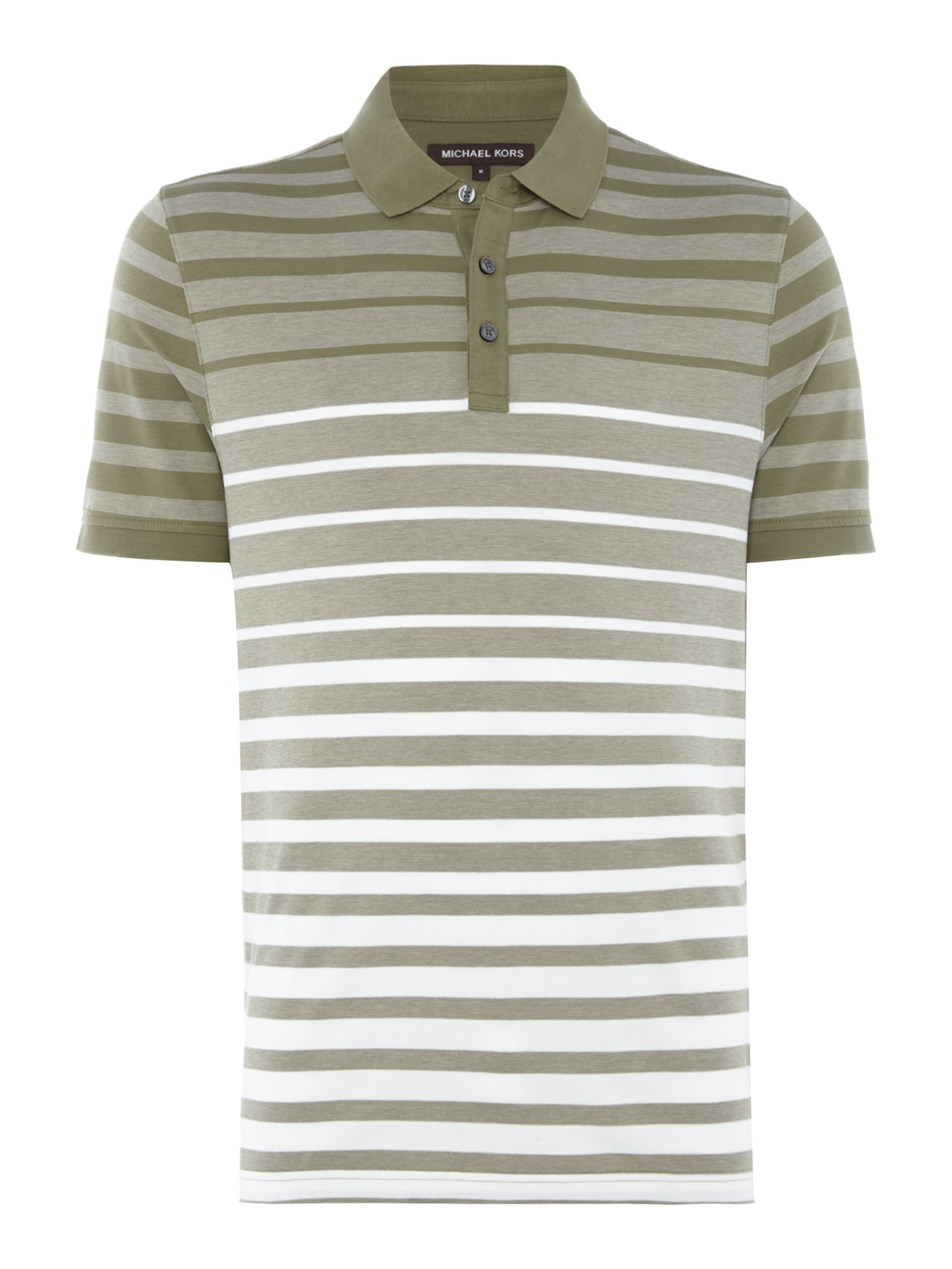 Men's Michael Kors Stiped Short Sleeve Polo Shirt, Green