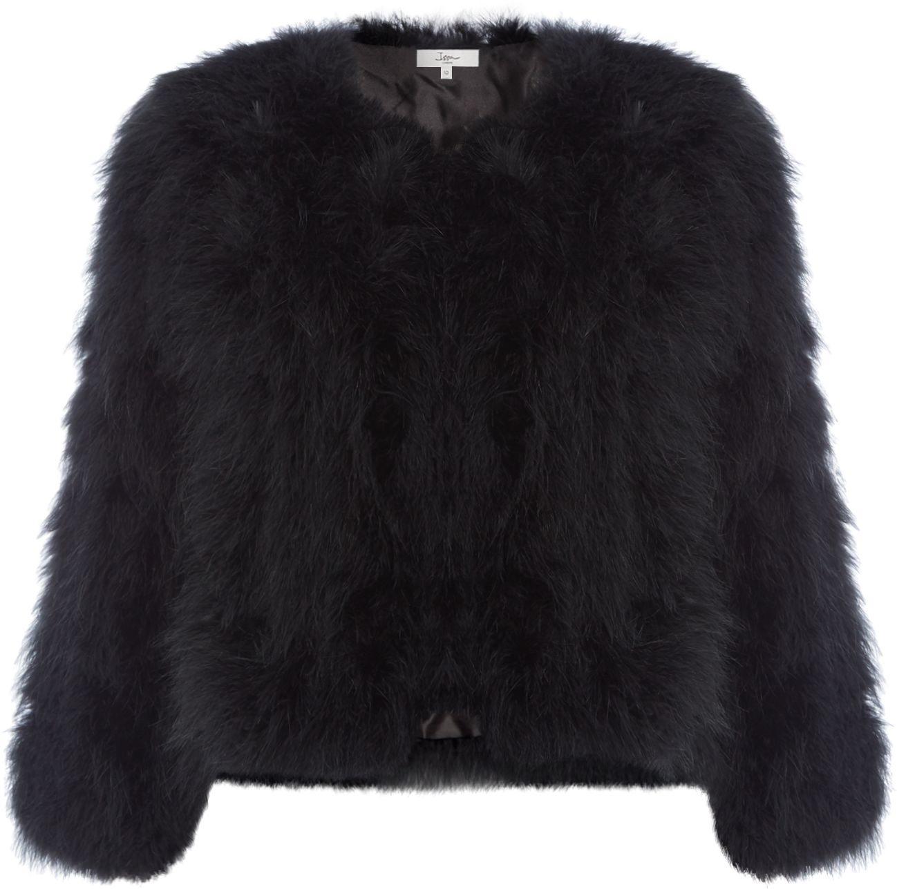 ISSA Lottie Marabou Jacket, Black