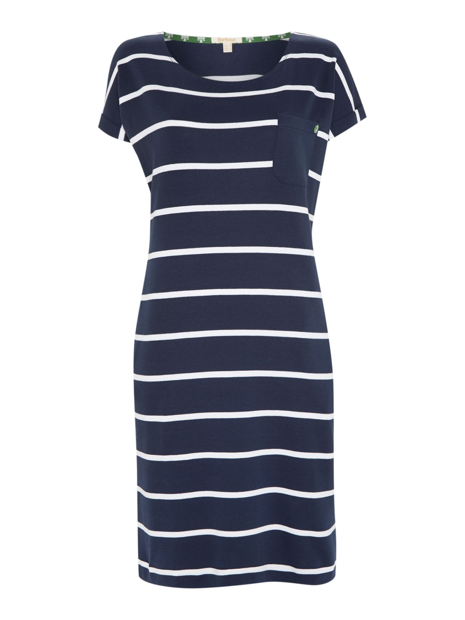 Barbour Blakeney Striped Short Sleeve Jersey Dress, Blue
