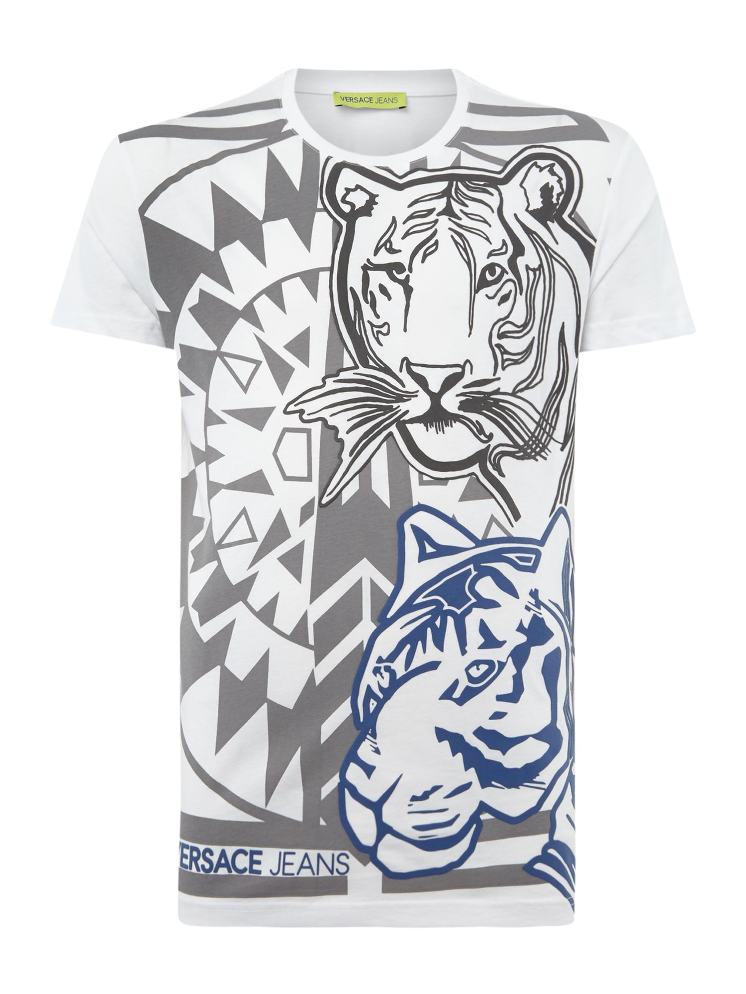 Men's Versace Jeans All Over Tiger Print Crew Neck T-Shirt, White