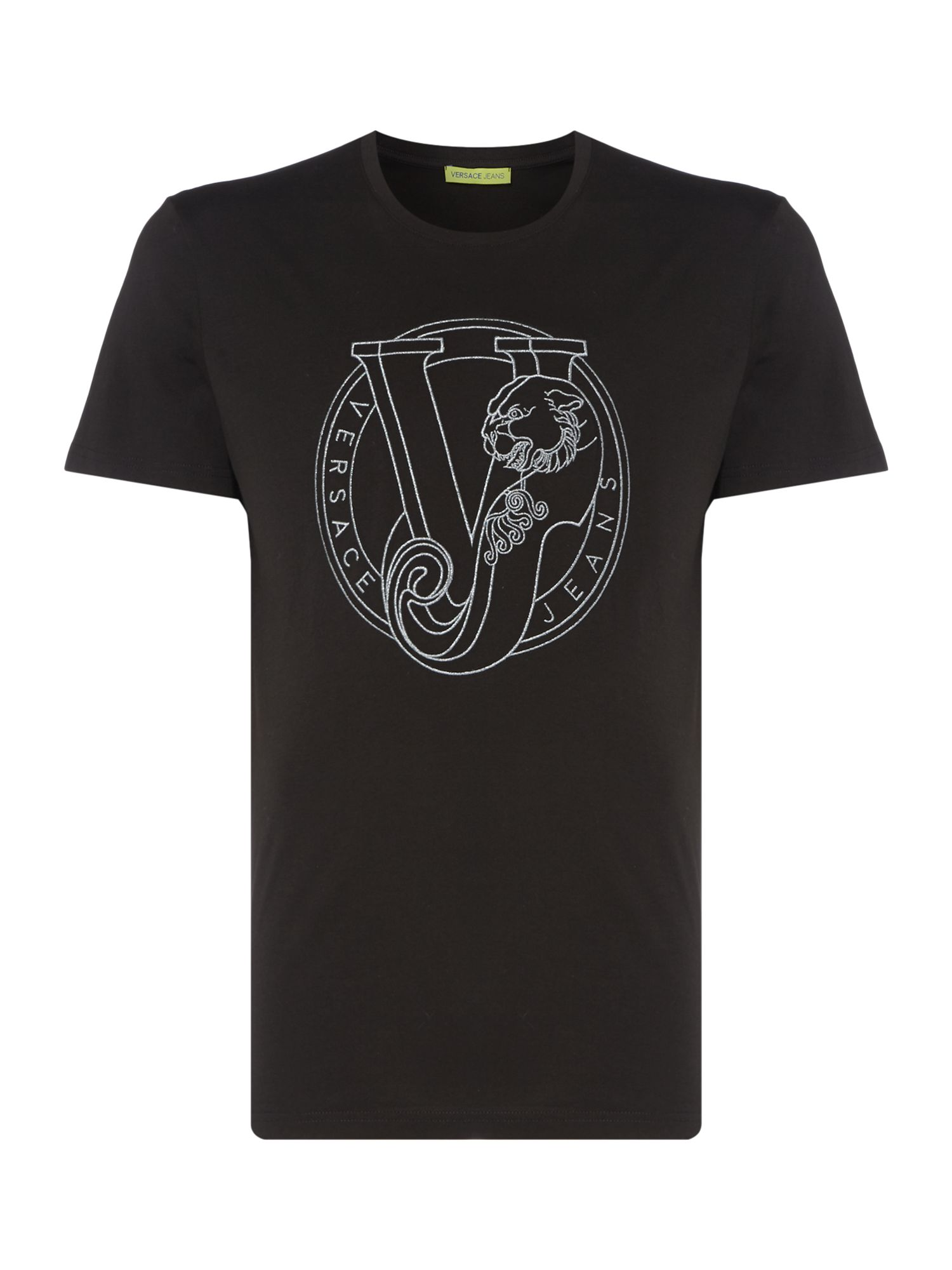 Men's Versace Jeans Chest Circle Logo Crew Neck T-Shirt, Black