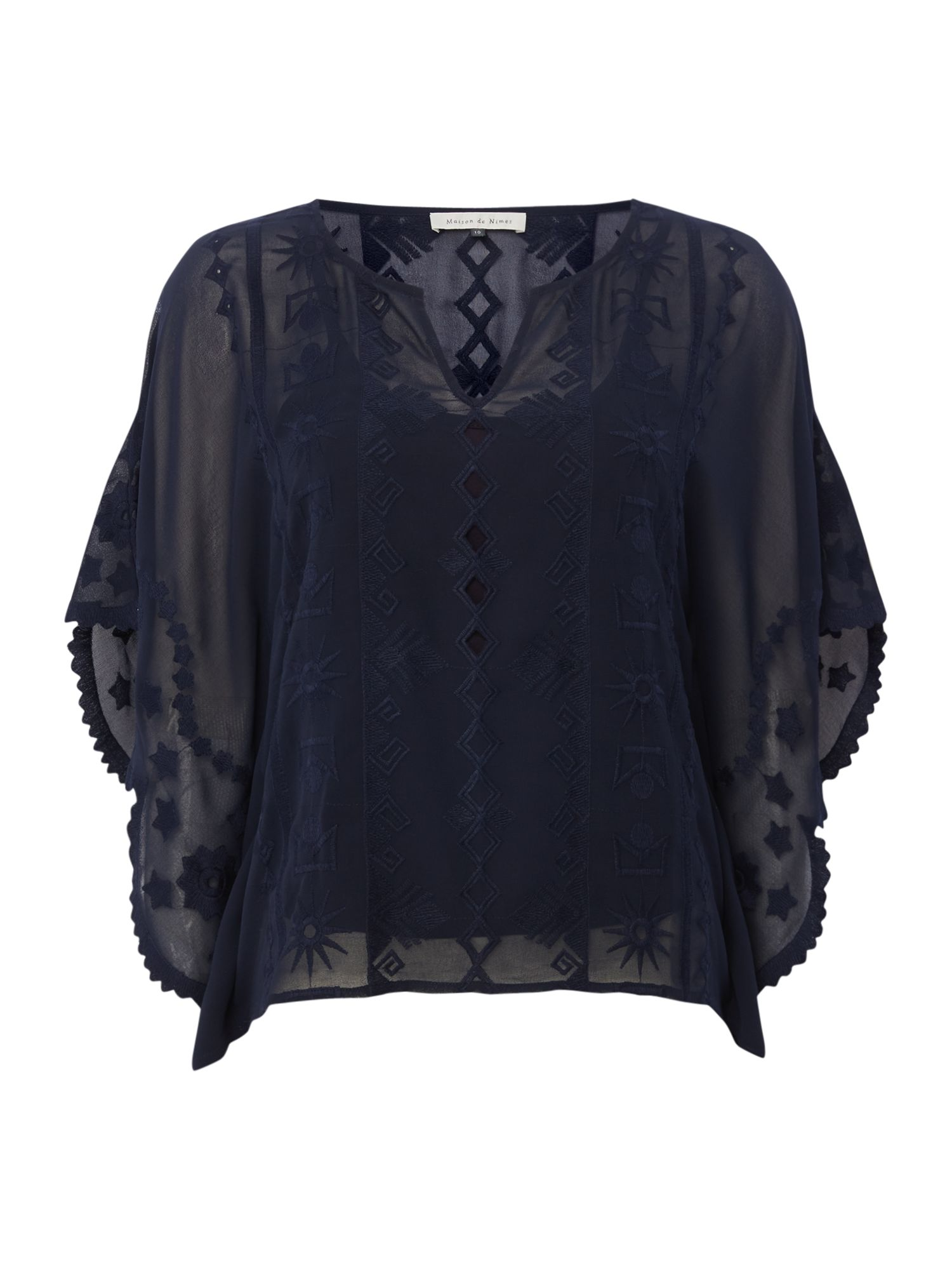 Maison De Nimes Embroidered Blouse, Blue