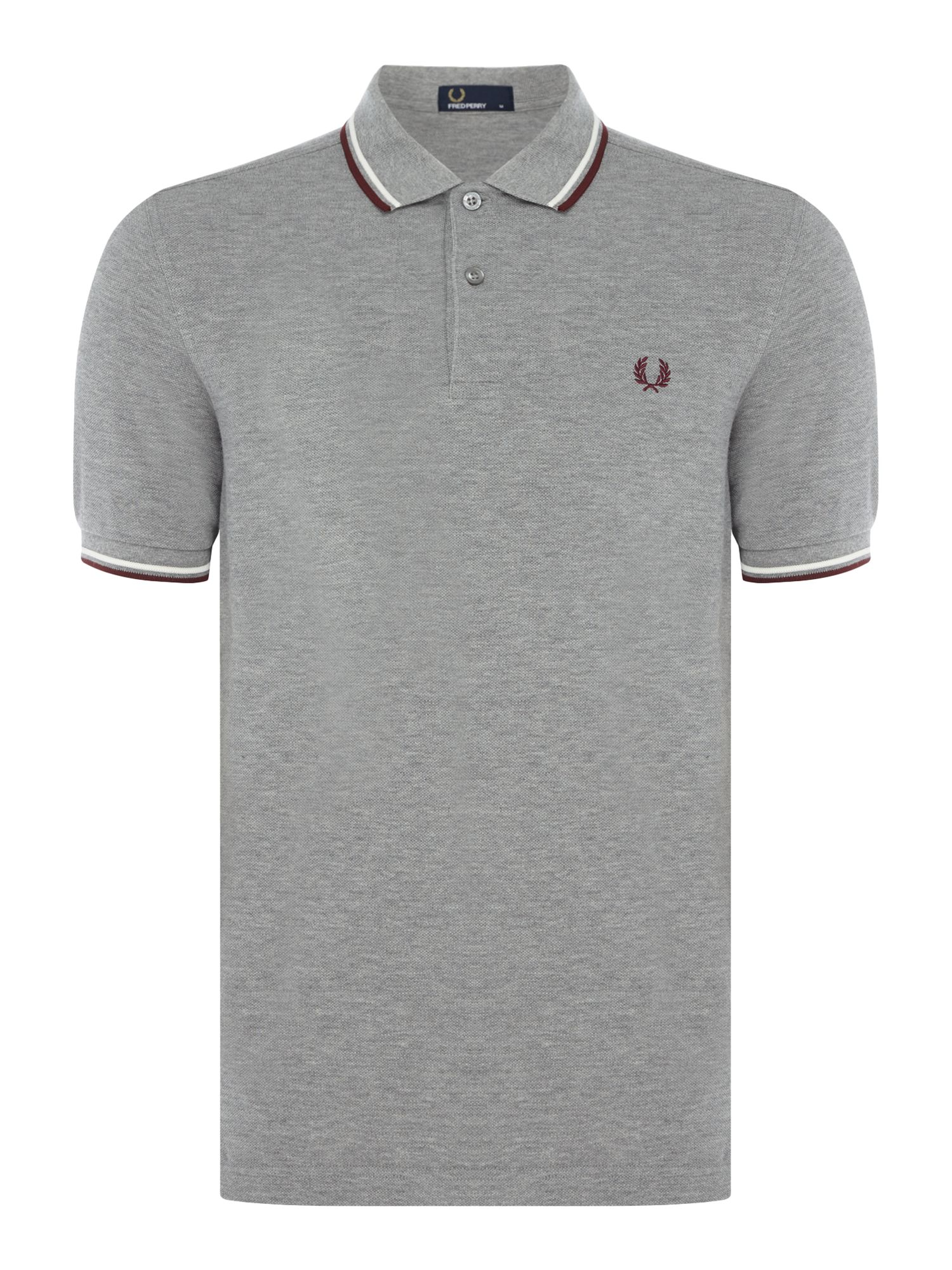 Mens Fred Perry Plain Twin Tipped Polo Shirt Grey Marl