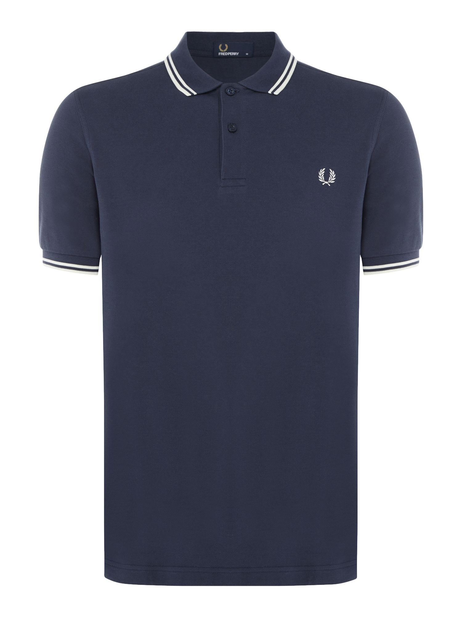 Mens Fred Perry Plain Twin Tipped Polo Shirt Ink
