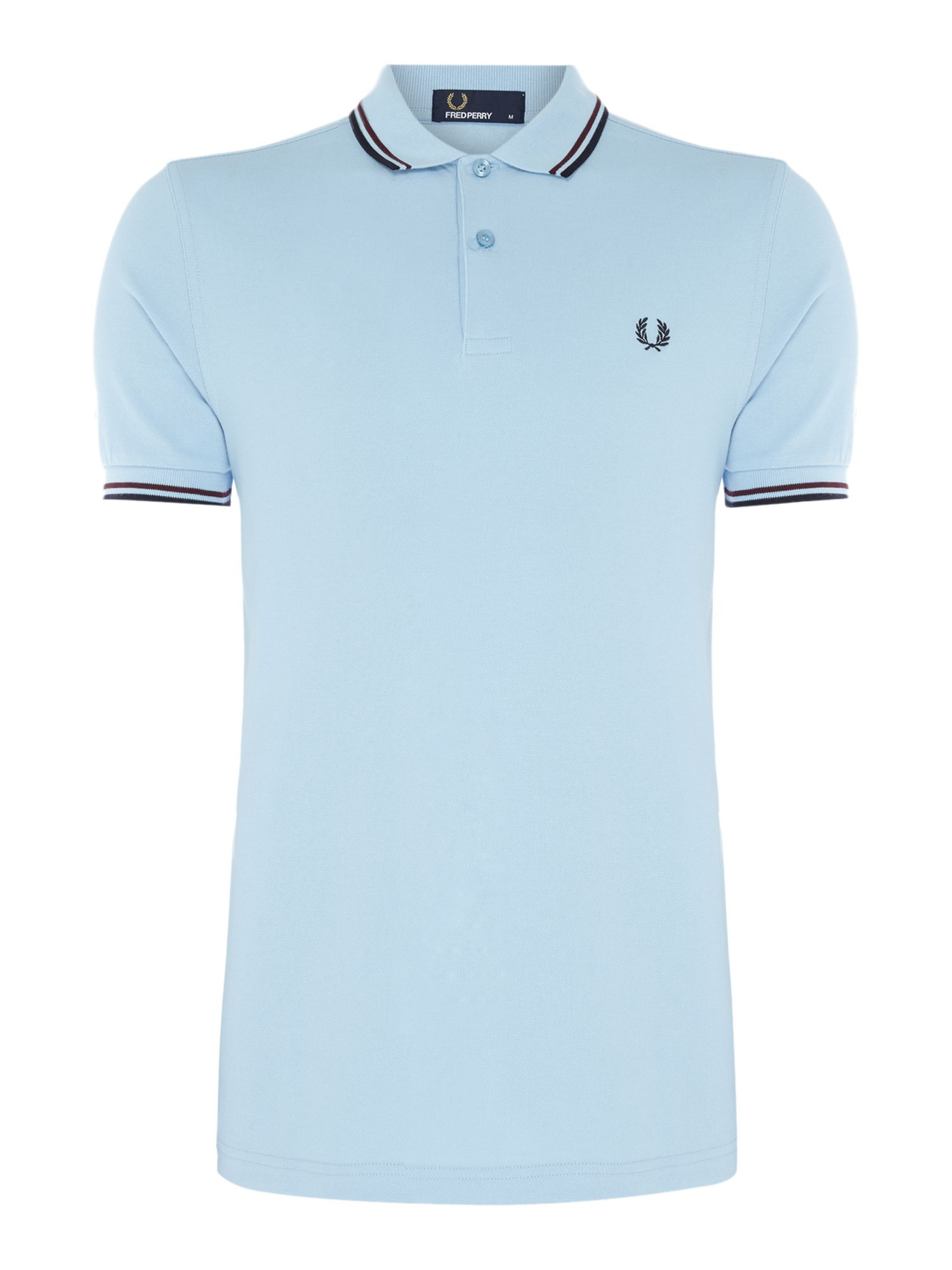 Mens Fred Perry Plain Twin Tipped Polo Shirt Light Blue