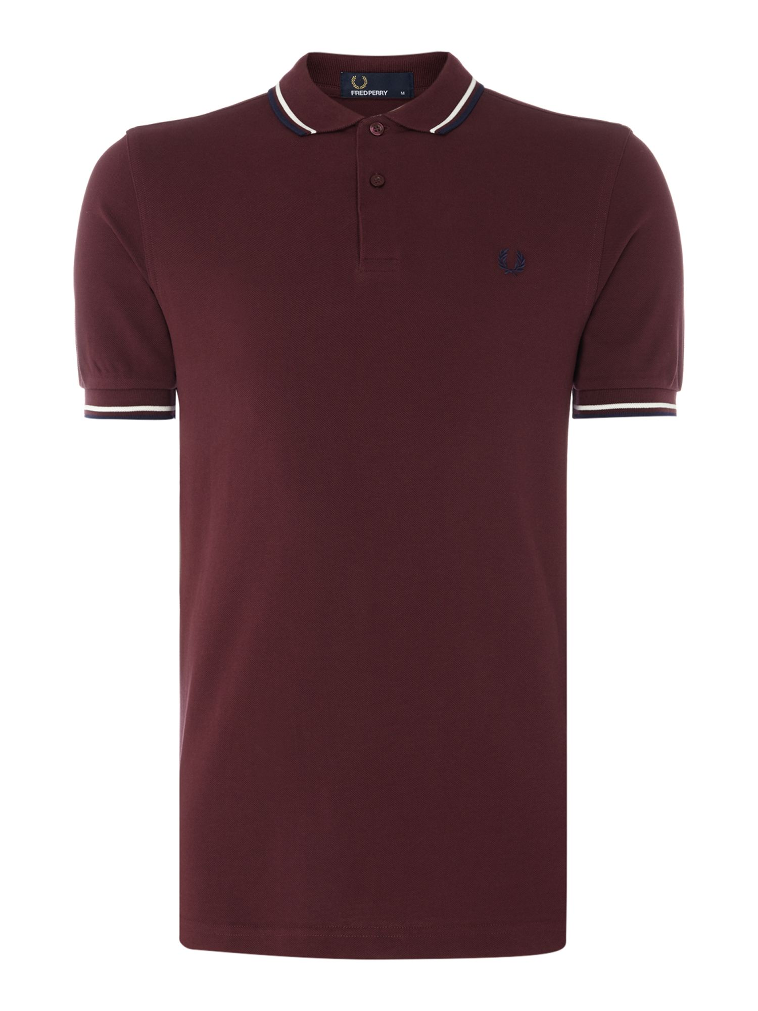 Mens Fred Perry Plain Twin Tipped Polo Shirt Claret