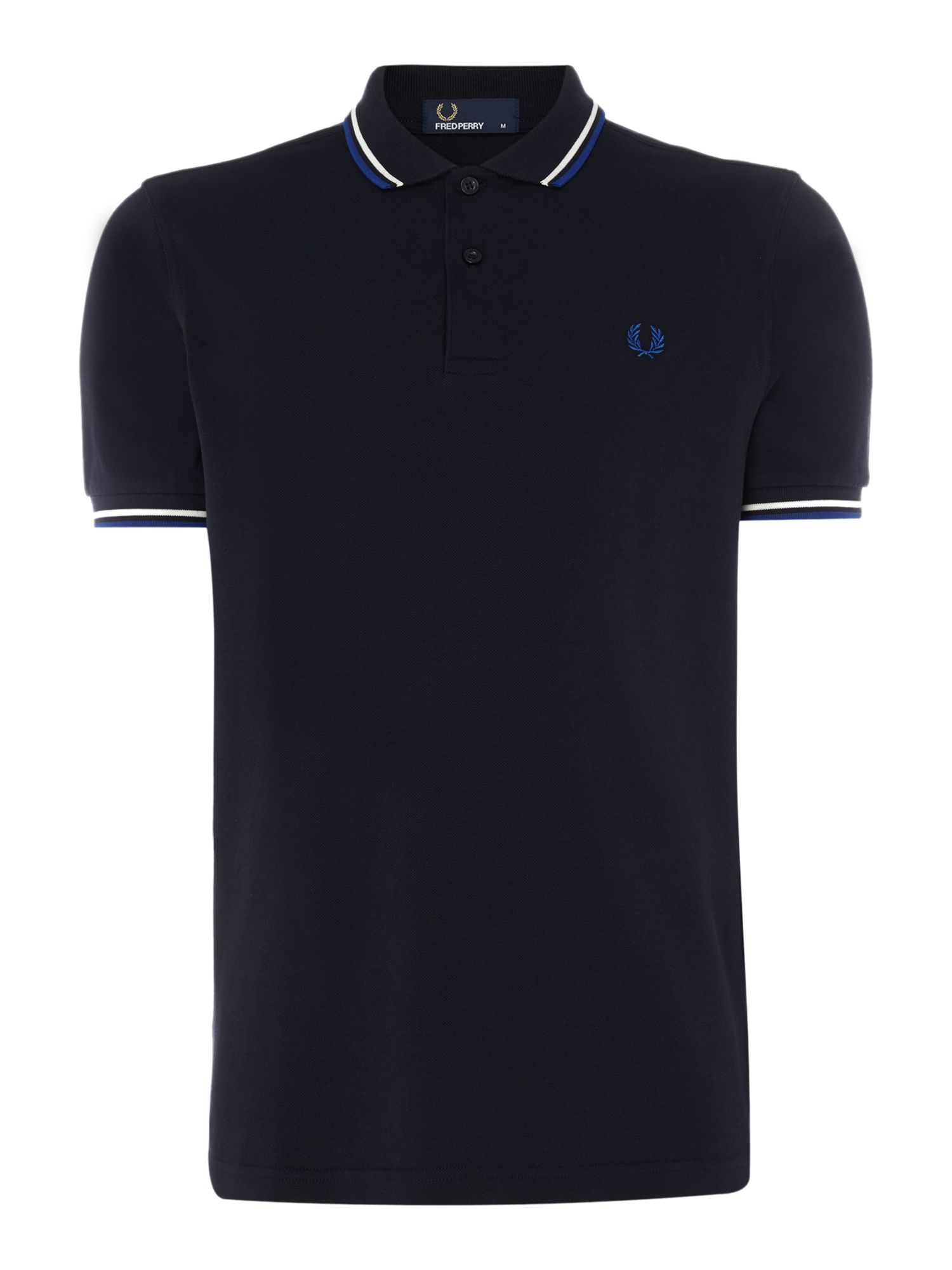 Men's Fred Perry Plain Twin Tipped Polo Shirt, Dark Blue