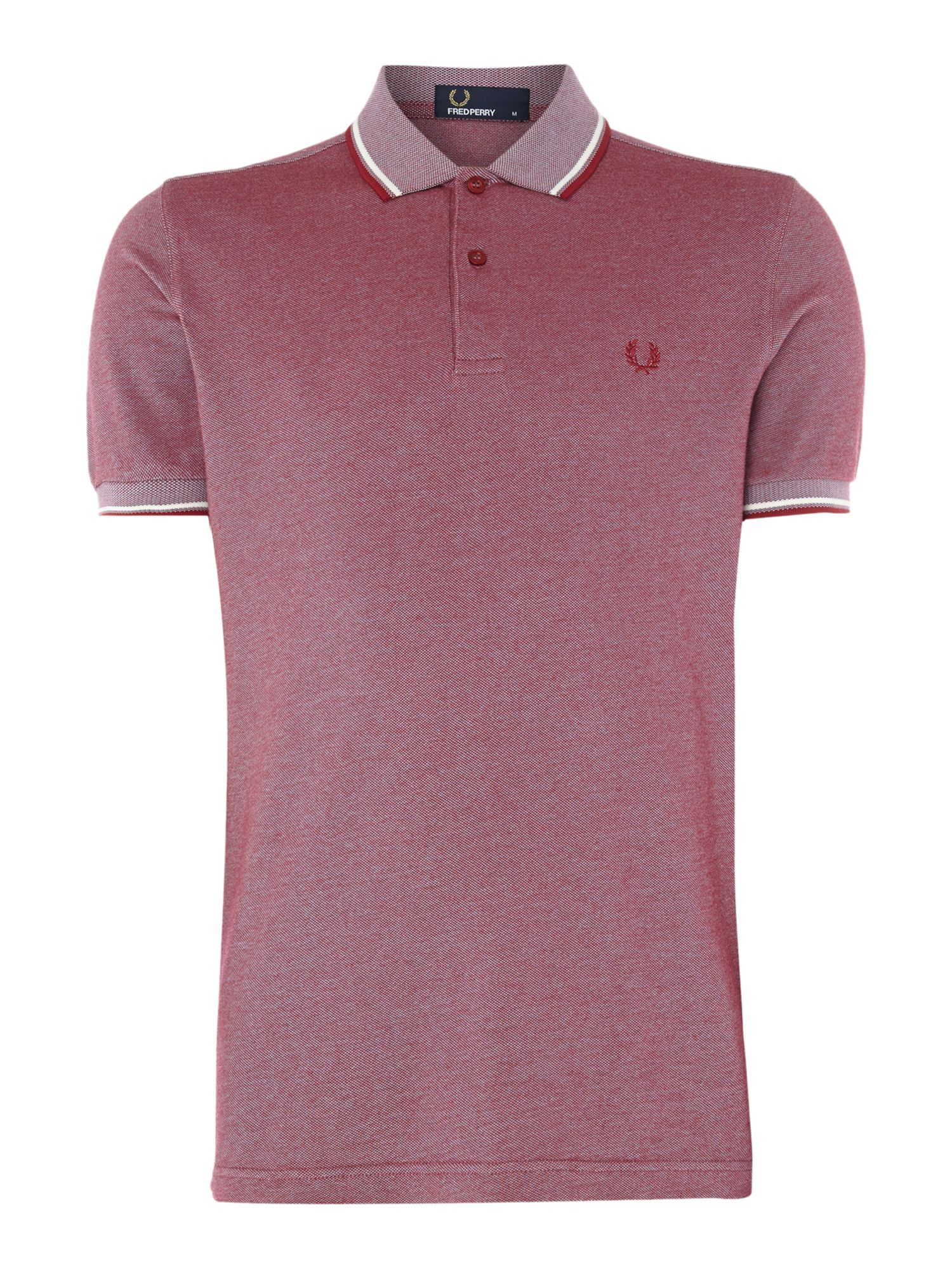 Mens Fred Perry Plain Twin Tipped Polo Shirt Red Marl