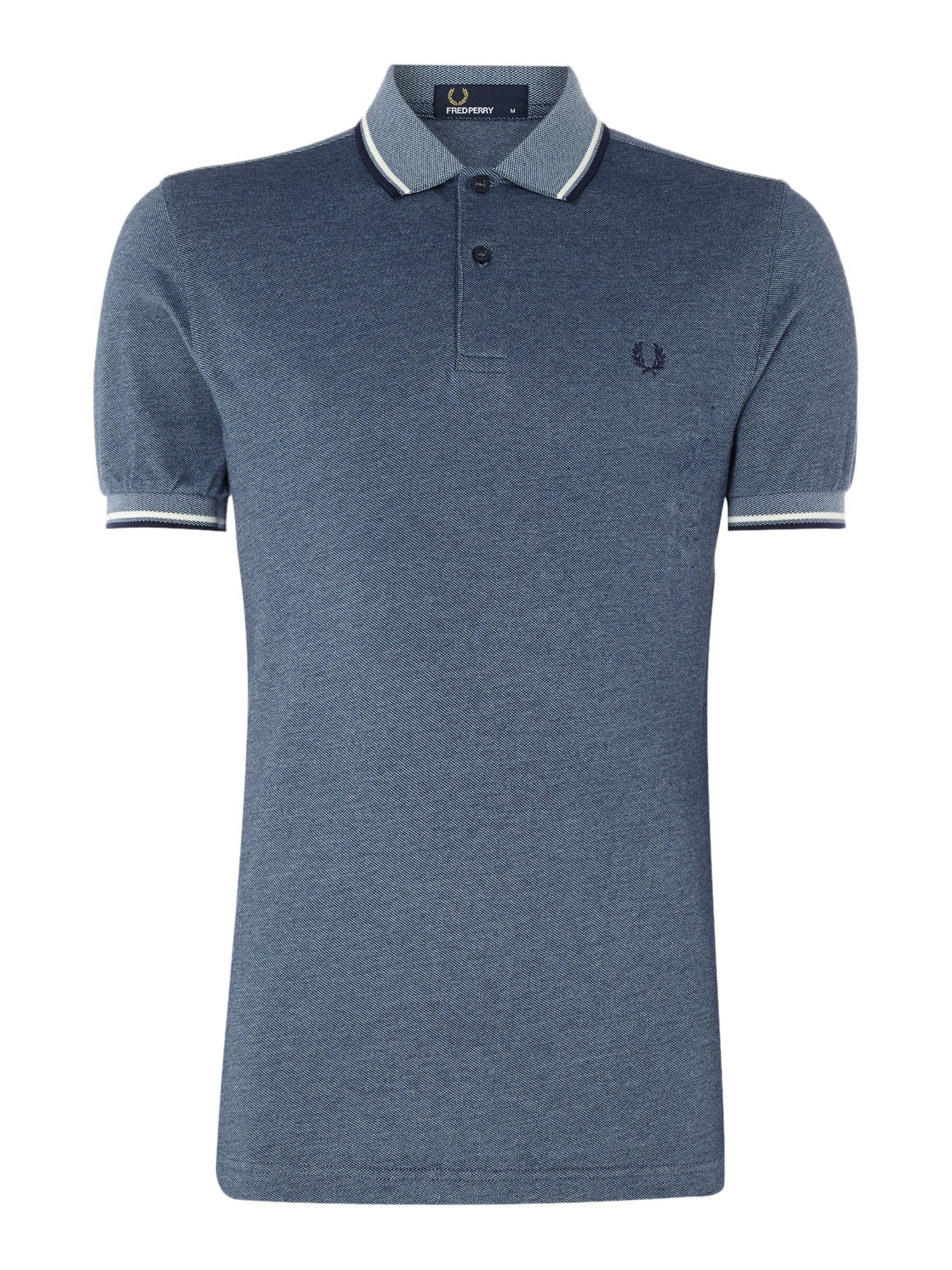 Mens Fred Perry Plain Twin Tipped Polo Shirt Blue Marl
