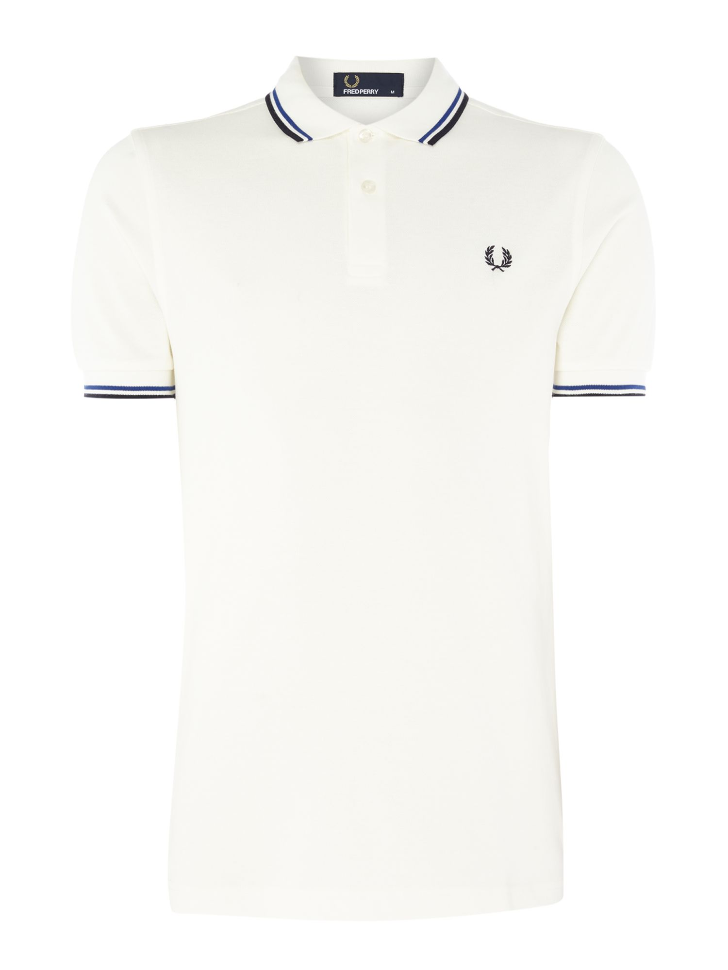 Mens Fred Perry Plain Twin Tipped Polo Shirt White