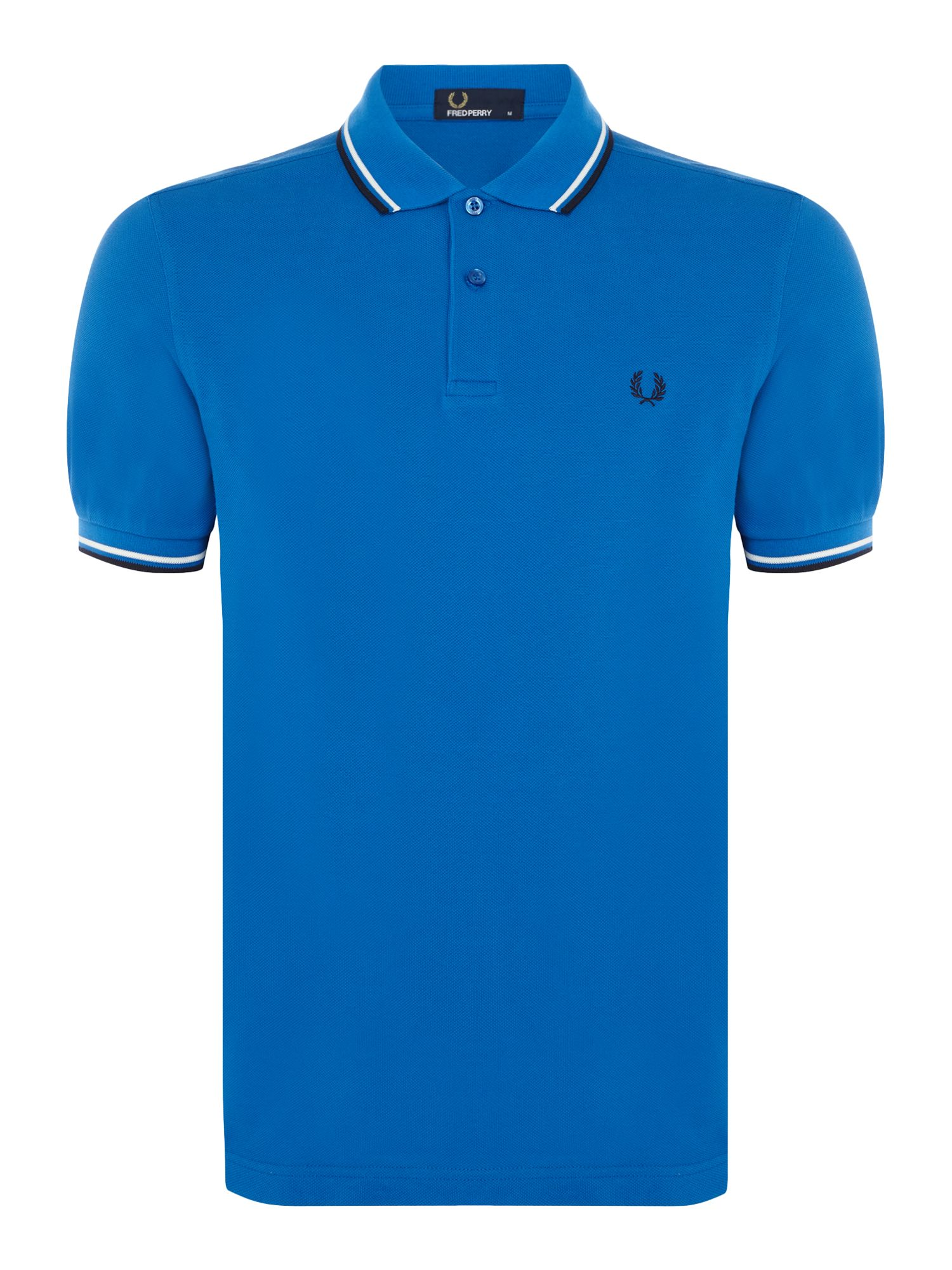 Men's Fred Perry Plain Twin Tipped Polo Shirt, Cobalt