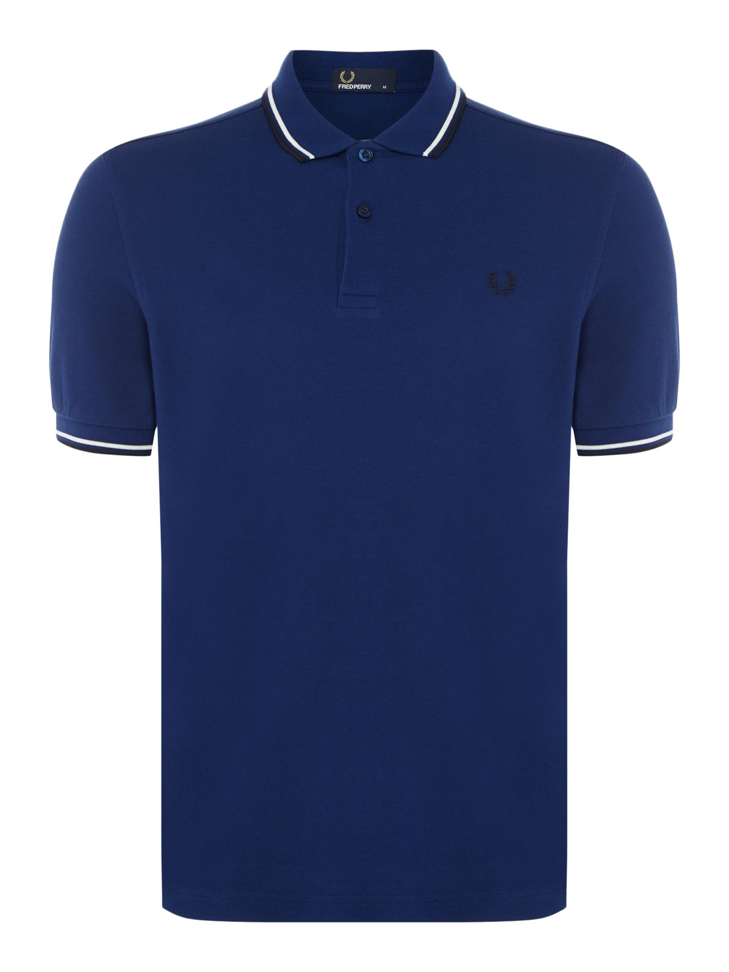 Mens Fred Perry Plain Twin Tipped Polo Shirt Royal