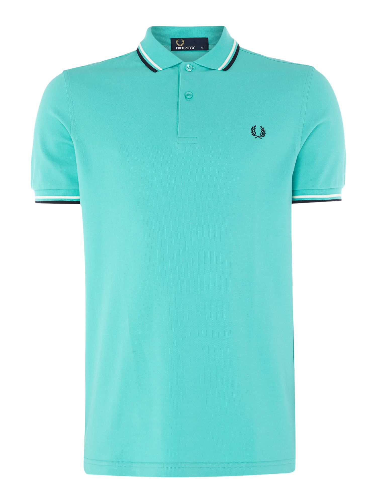 Men's Fred Perry Plain Twin Tipped Polo Shirt, Mint
