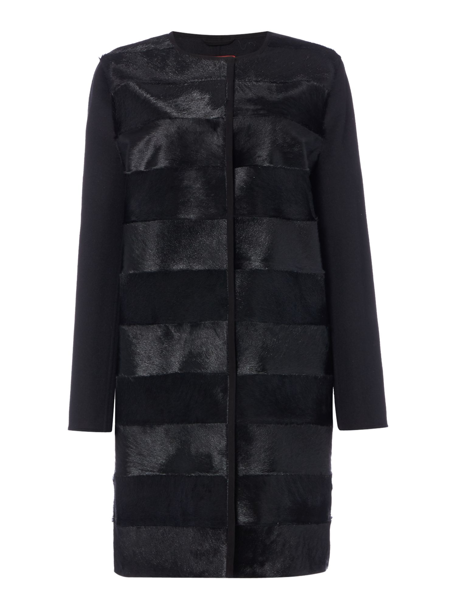 Max Mara Studio Romana pony skin collarless coat, Black