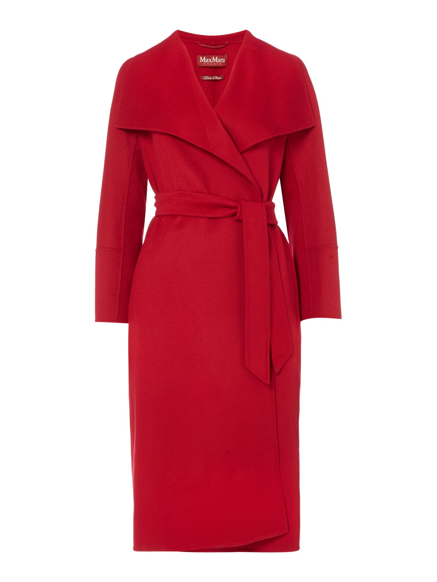 Max Mara Studio Cremona belted long sleeve wool coat, Red