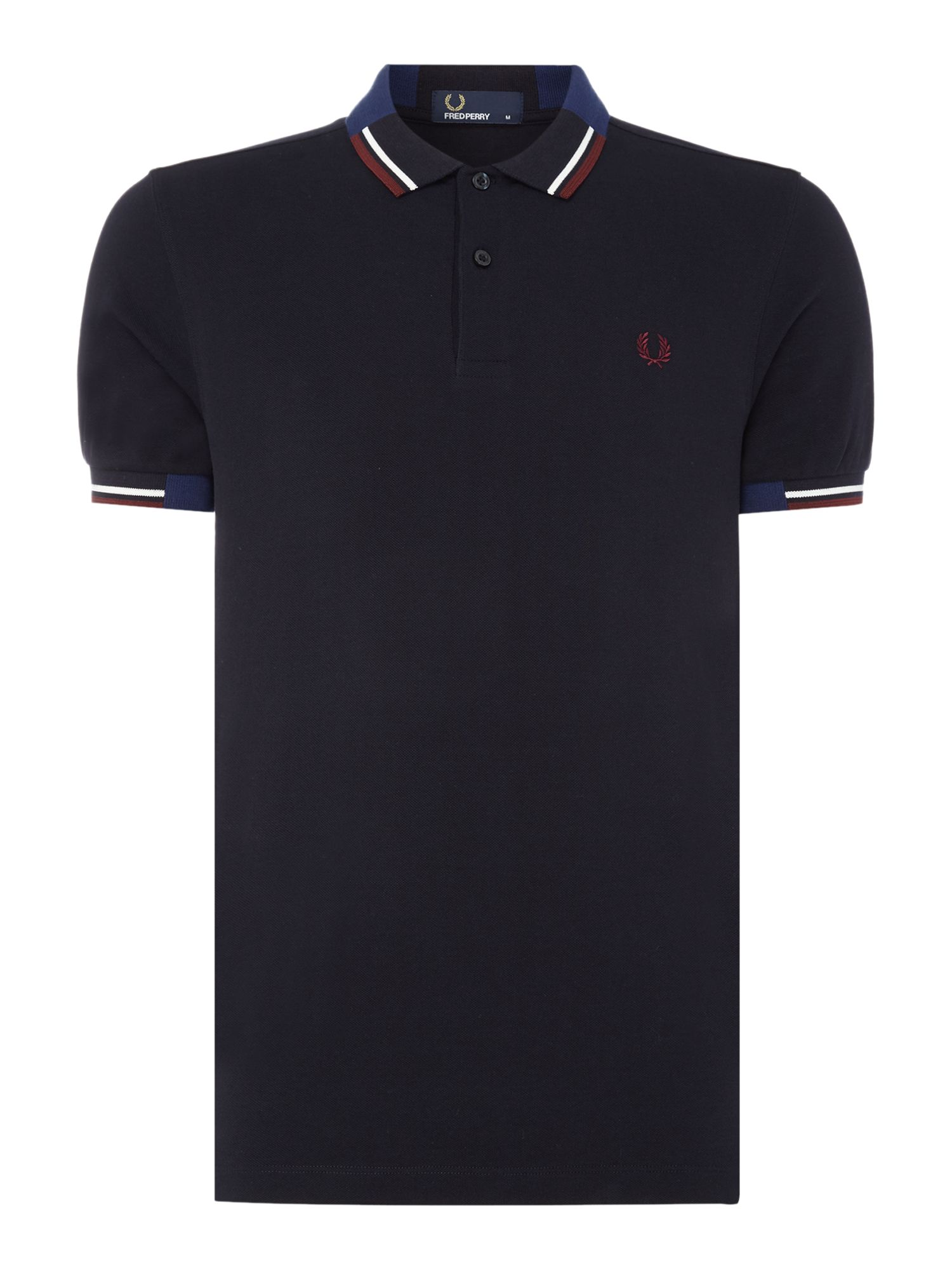 Men's Fred Perry Abstract tipped pique short sleeve polo, Blue