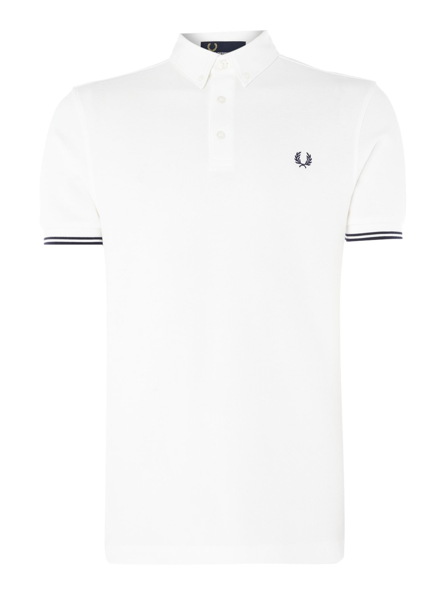 Men's Fred Perry Woven collar pique short sleeve polo, White