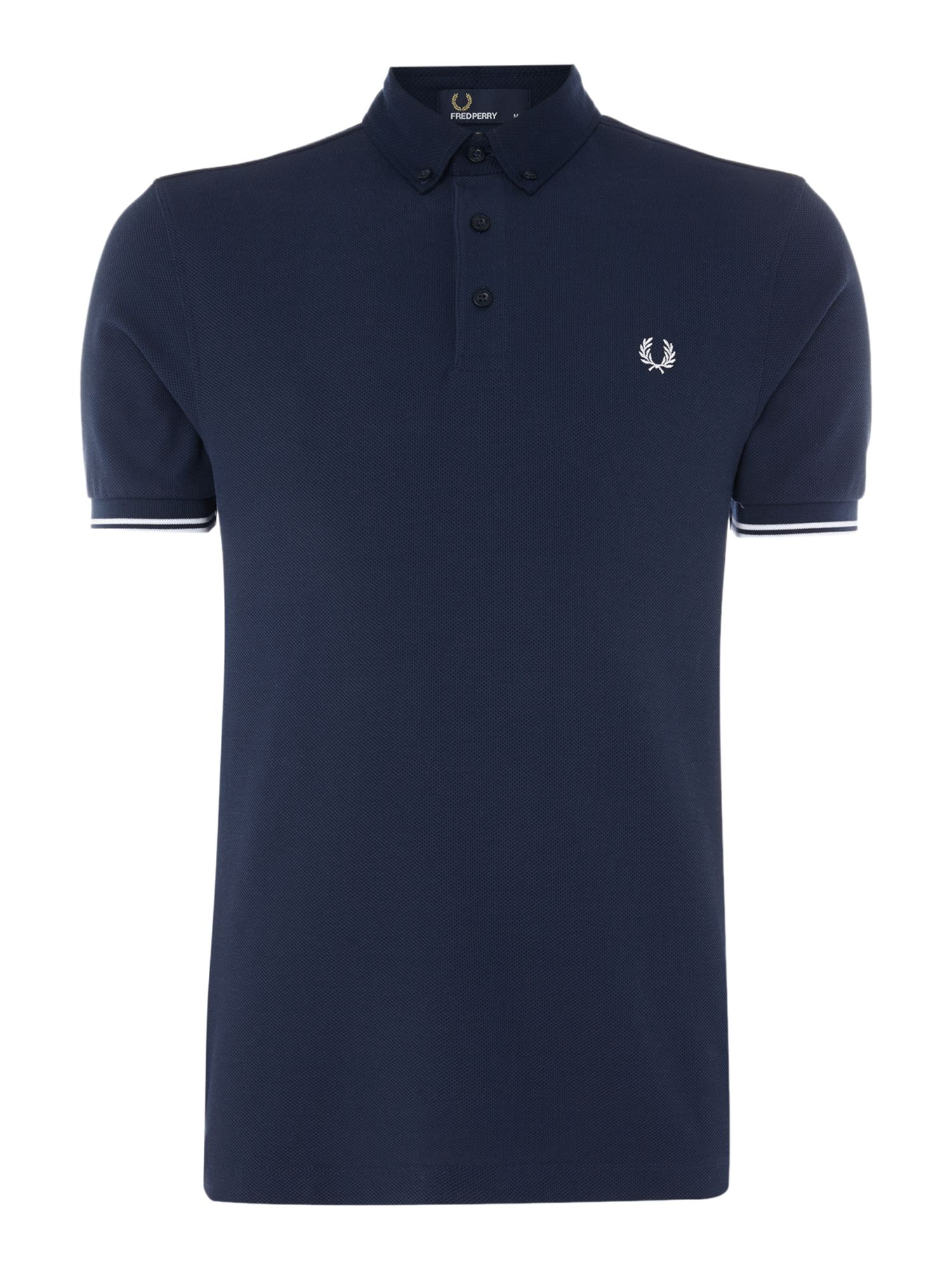 Men's Fred Perry Woven collar pique short sleeve polo, Blue