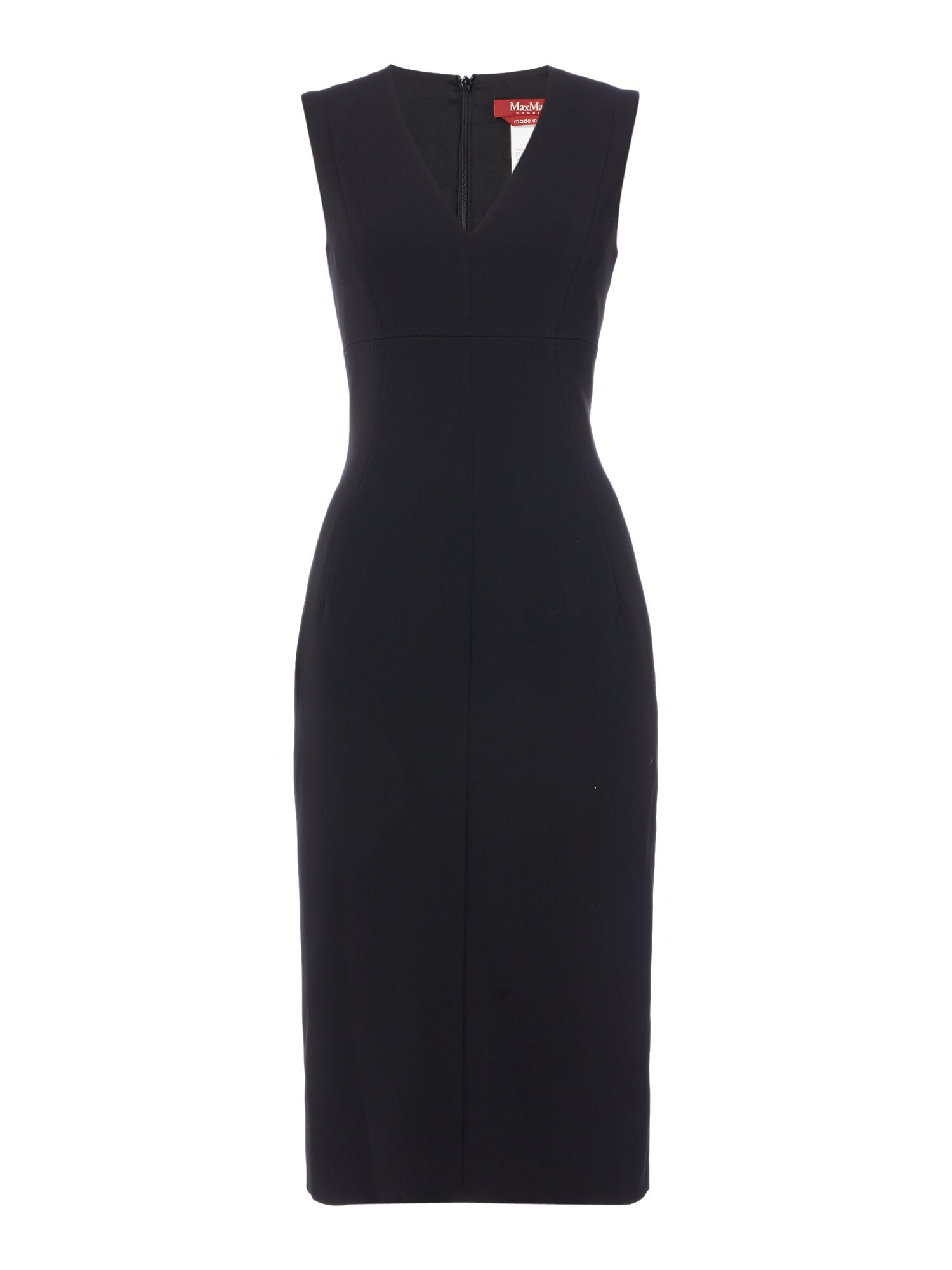 Max Mara Studio Legge sleeveless v neck shift dress, Black
