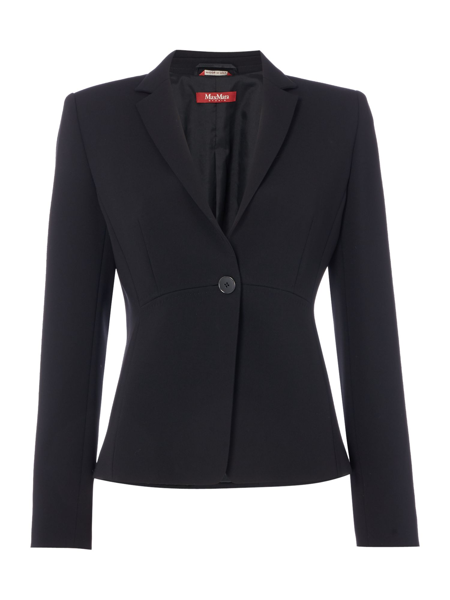 Max Mara Studio Solista longsleeve one button blazer, Black
