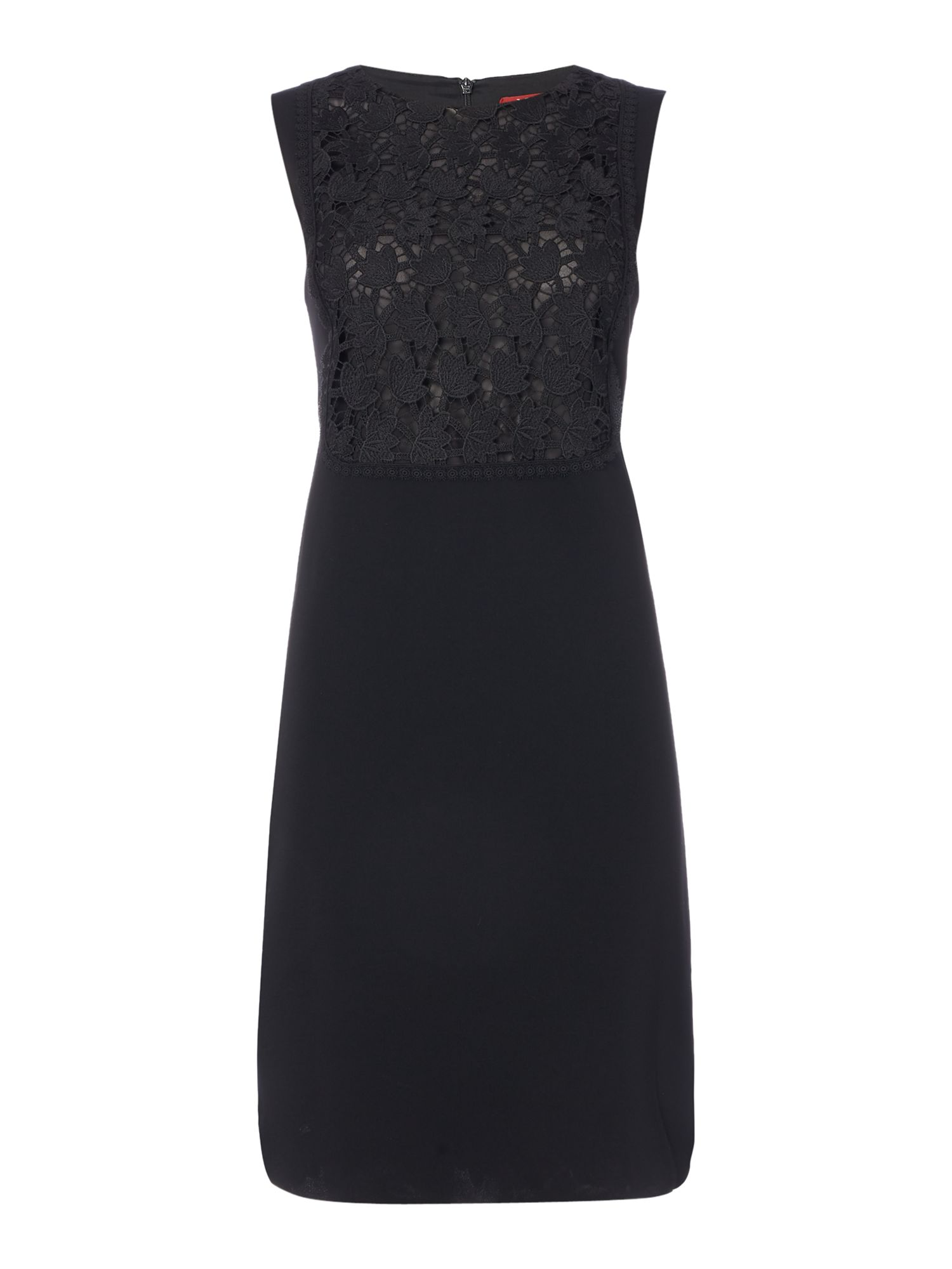 Max Mara Studio Angri black lace sleeveless shift dress, Black