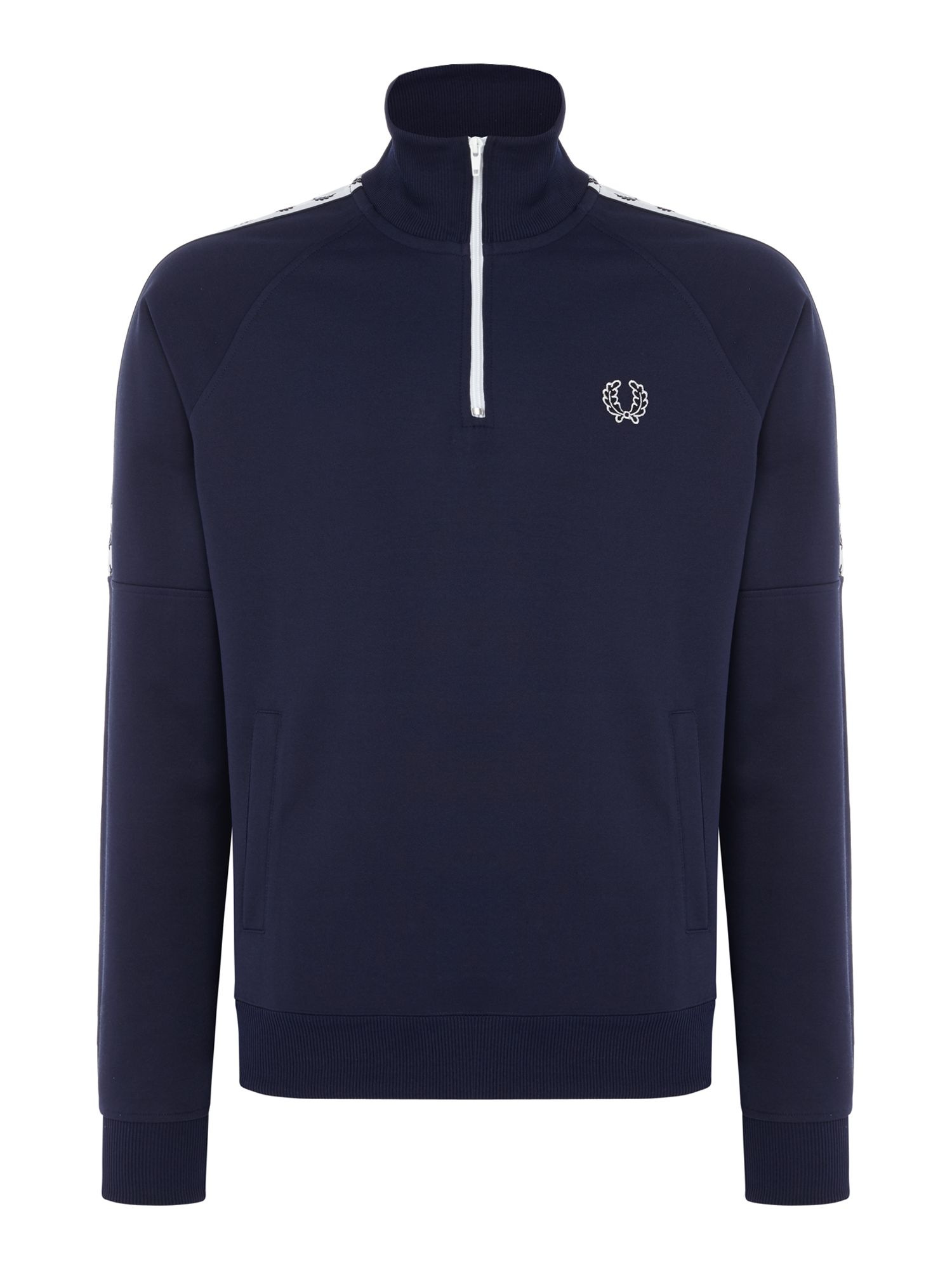 Men's Fred Perry Laurel wreath tape half zip sweat, Blue