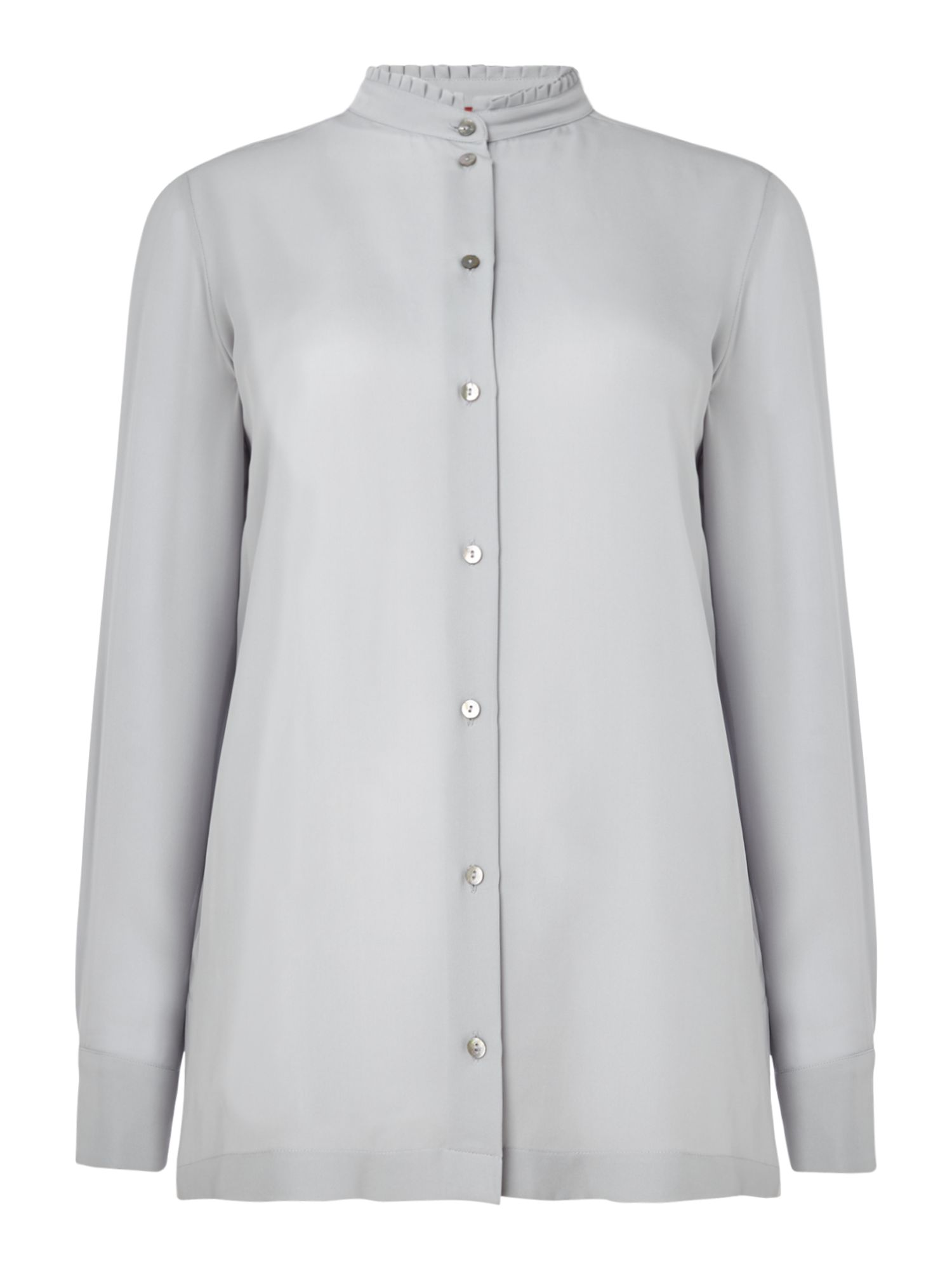 Max Mara Studio Marocco long sleeve frill collar details, Grey