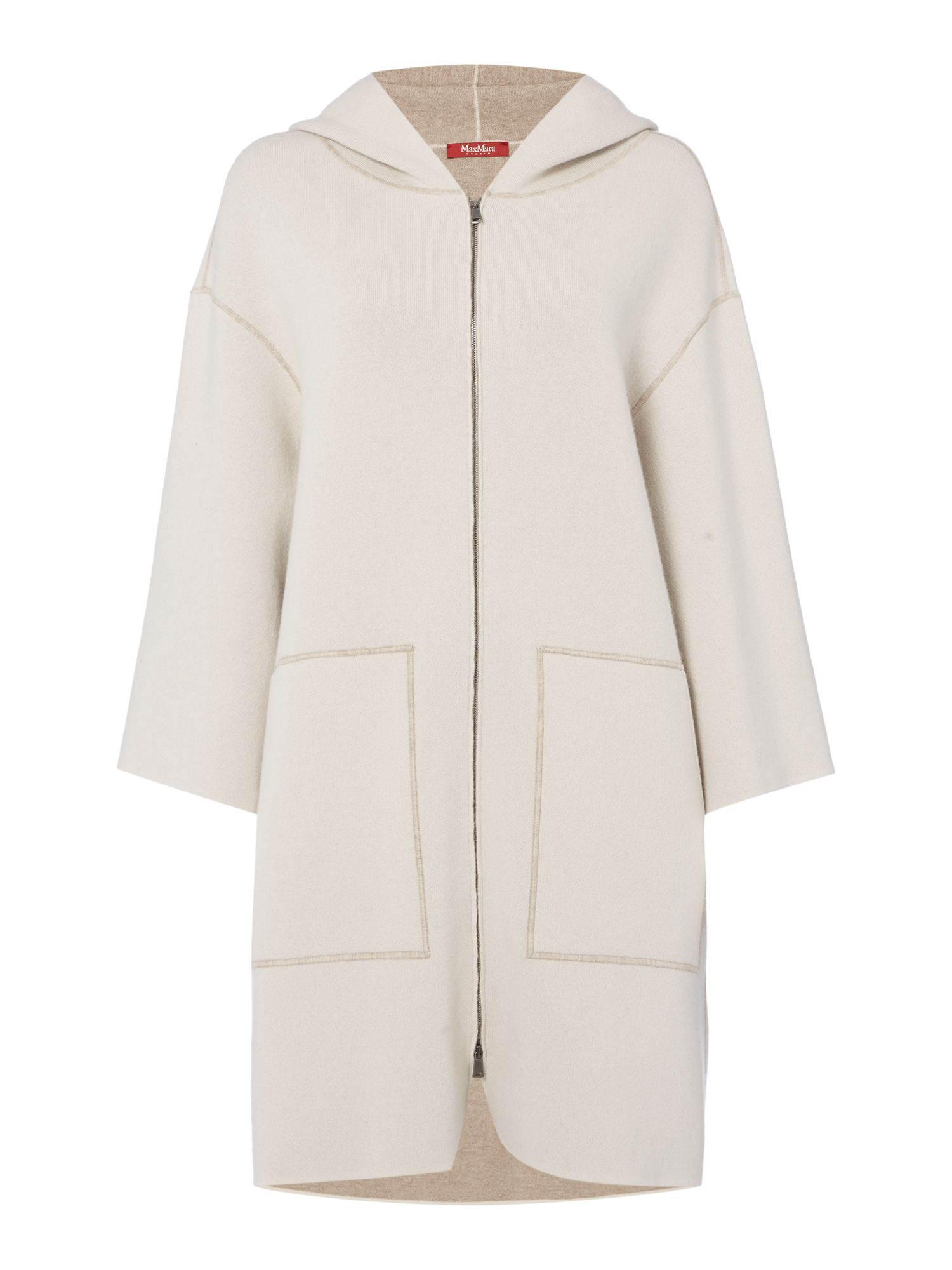 Max Mara Studio Ostile knitted coat with front pocket and hood, Sand