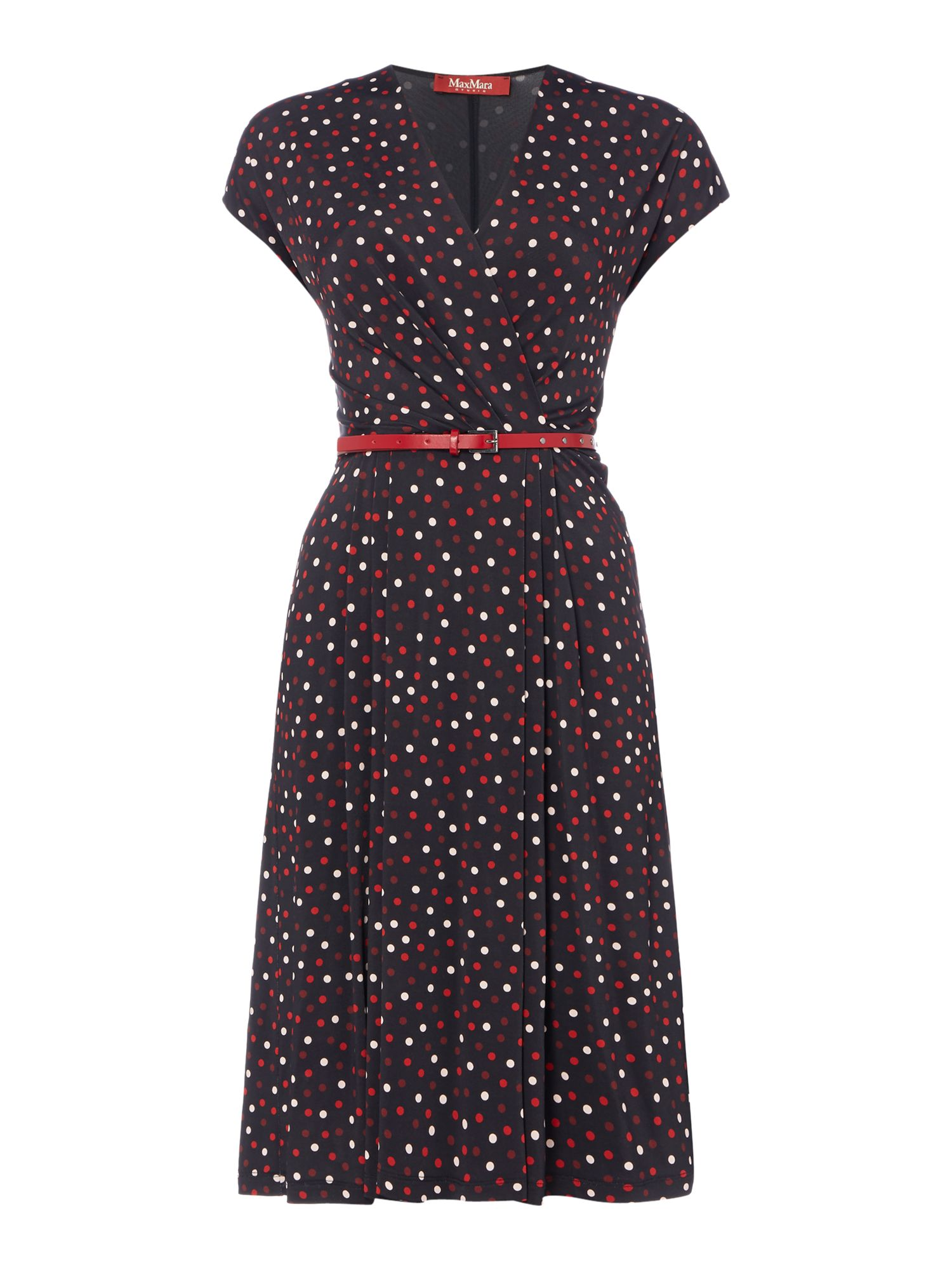 Max Mara Studio Arlette sleeveless polka dot dress, Black