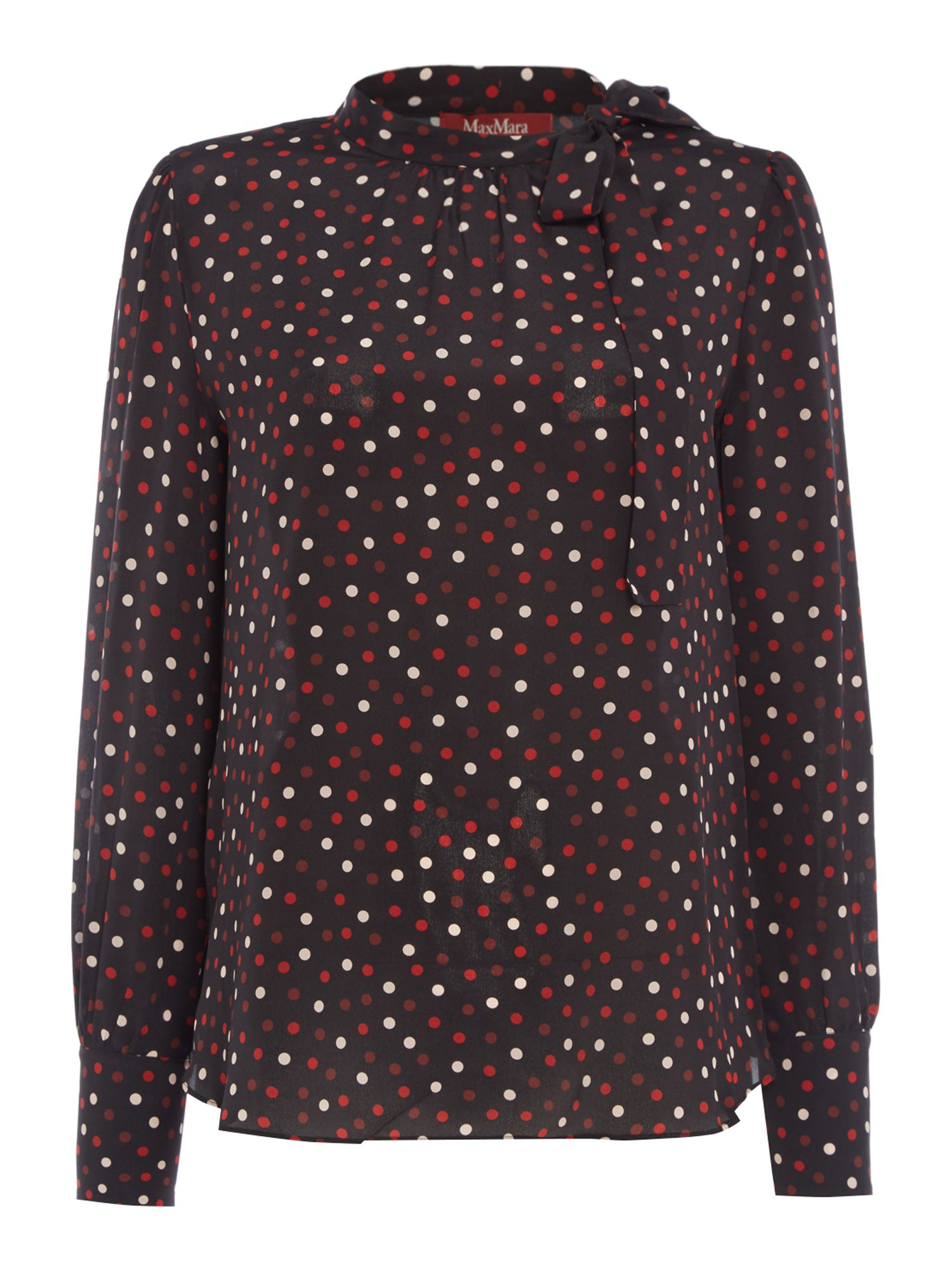 Max Mara Studio Adunco longsleeve tie neck polka dot shirt, Black