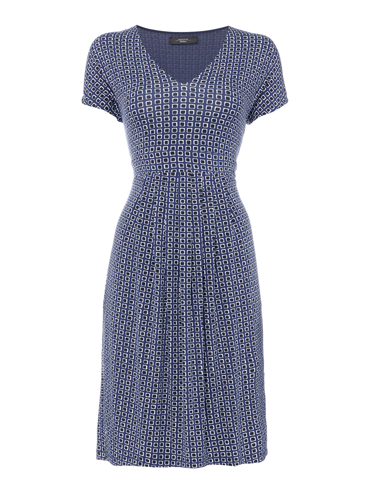 Max Mara Weekend Eiffel V Neck Short Sleeve Jersey Dress, Ultramarine