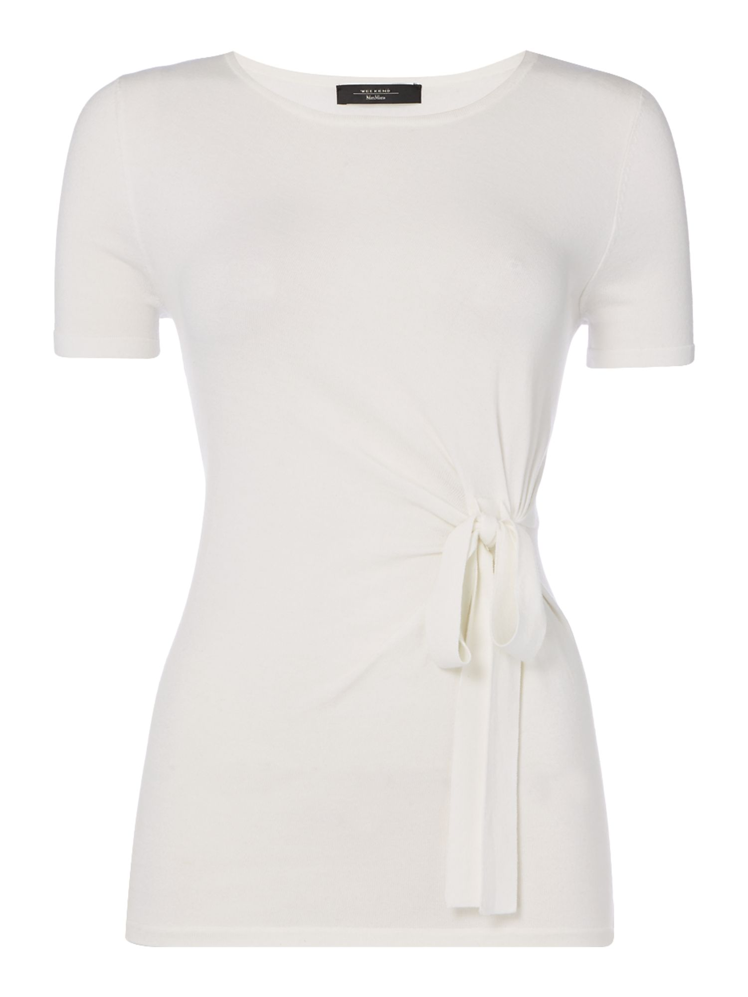 Max Mara Weekend Padova Side Knot Tee With Crew Neck, White