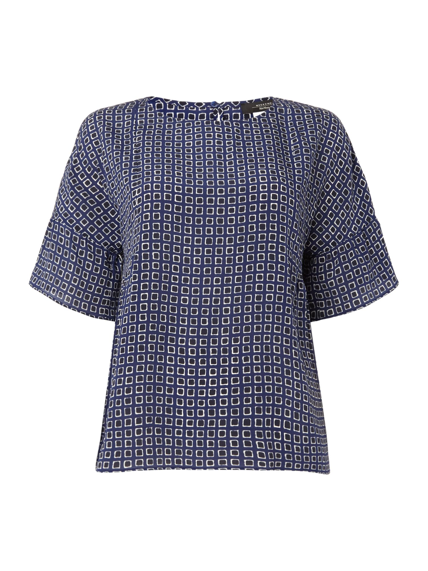 Max Mara Weekend Burano bell sleeve top with round neck, Blue