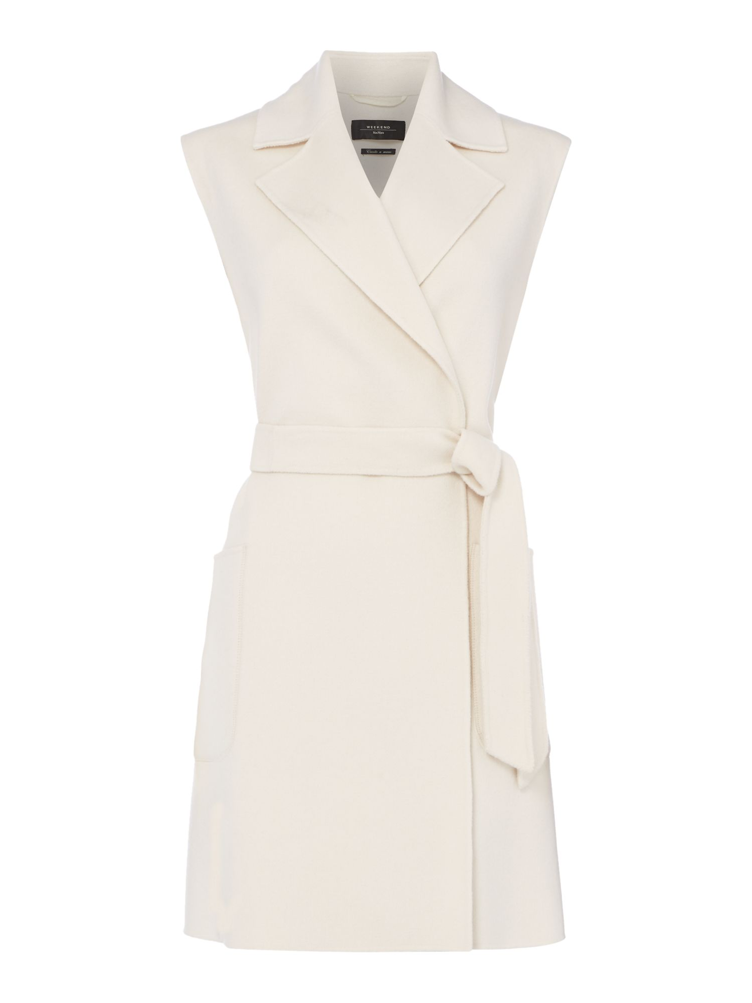 Max Mara Weekend Bondeno Sleeveless Coat With Belt, White