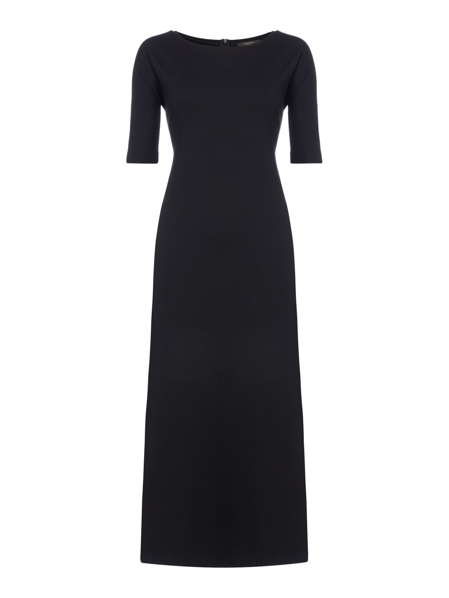 Max Mara Weekend Basilio short sleeve maxi dress with side split, Black