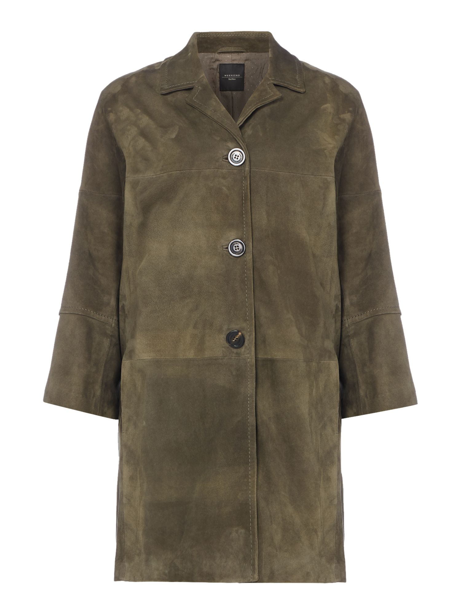 Max Mara Weekend Tebano Long Sleeve Button Front Suede Coat, Khaki