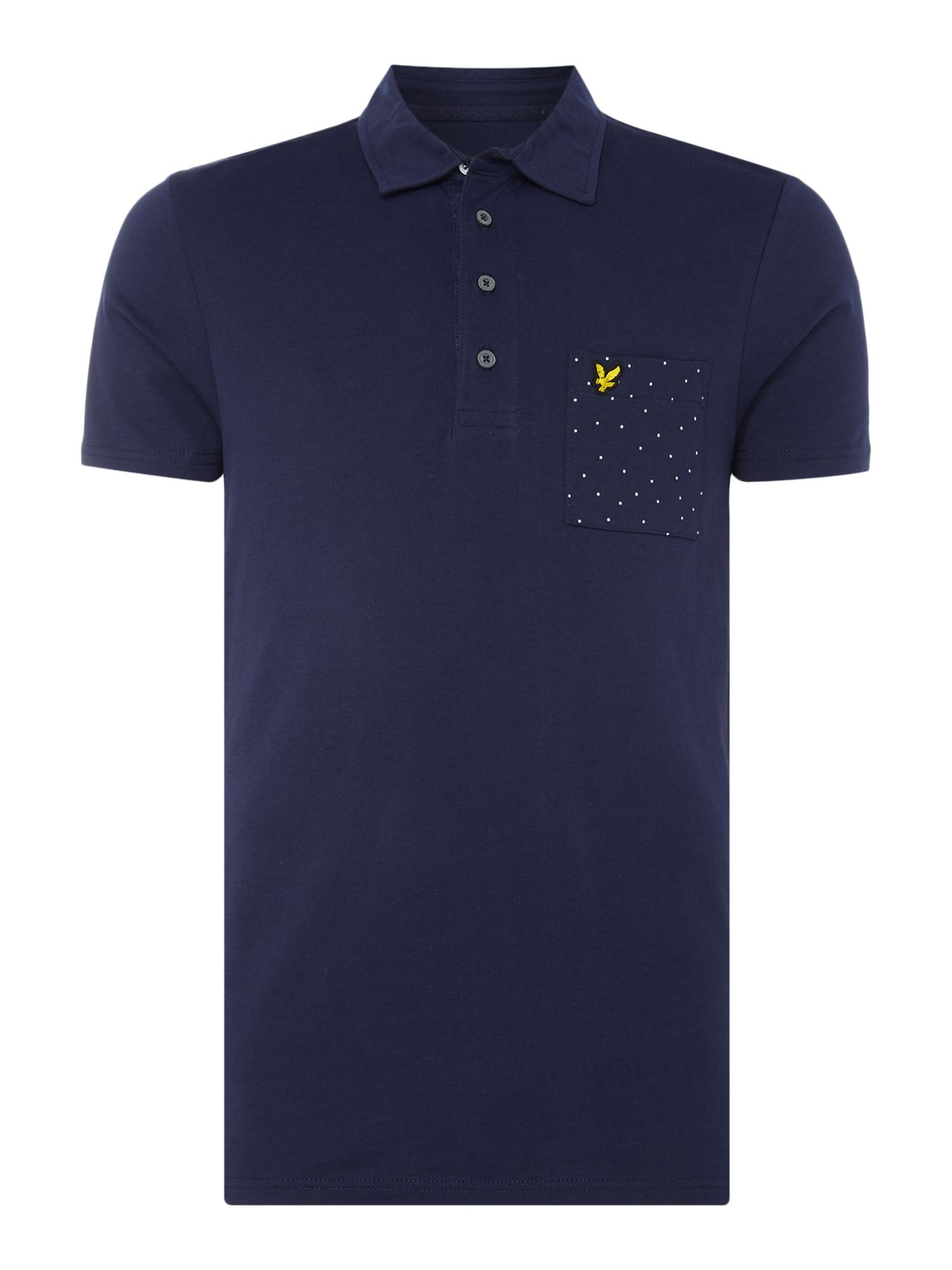 Men's Lyle and Scott Minimal dot pocket short sleeve polo, Blue