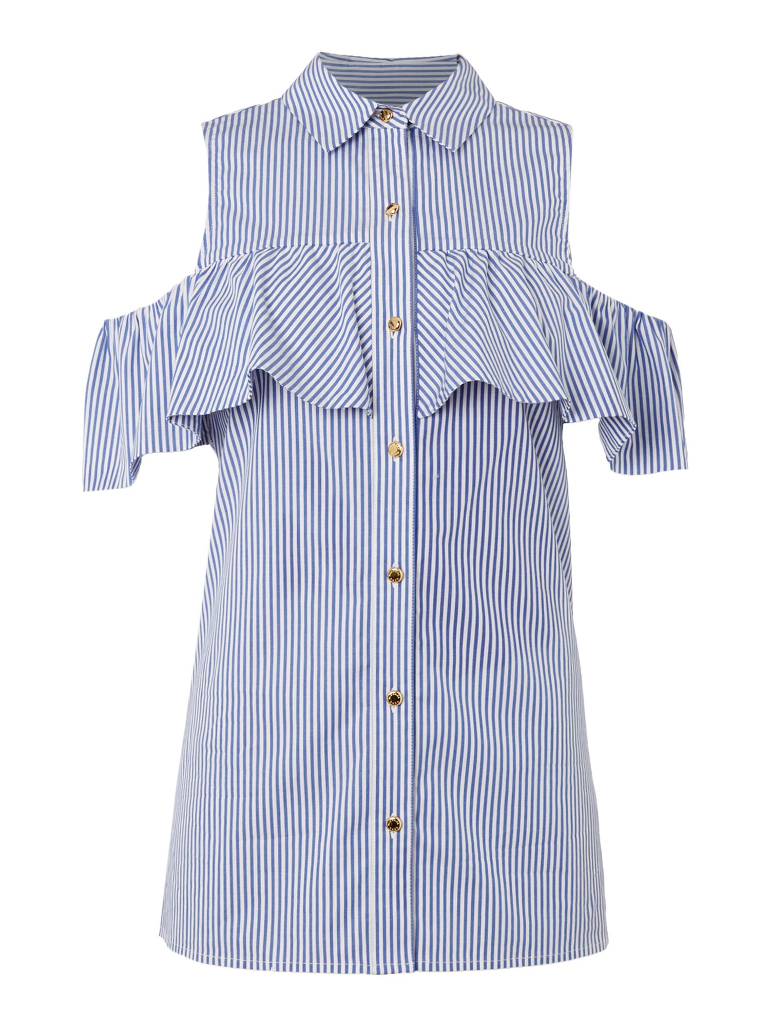 Michael Kors Short Sleeve Button Up Shirt, Blue