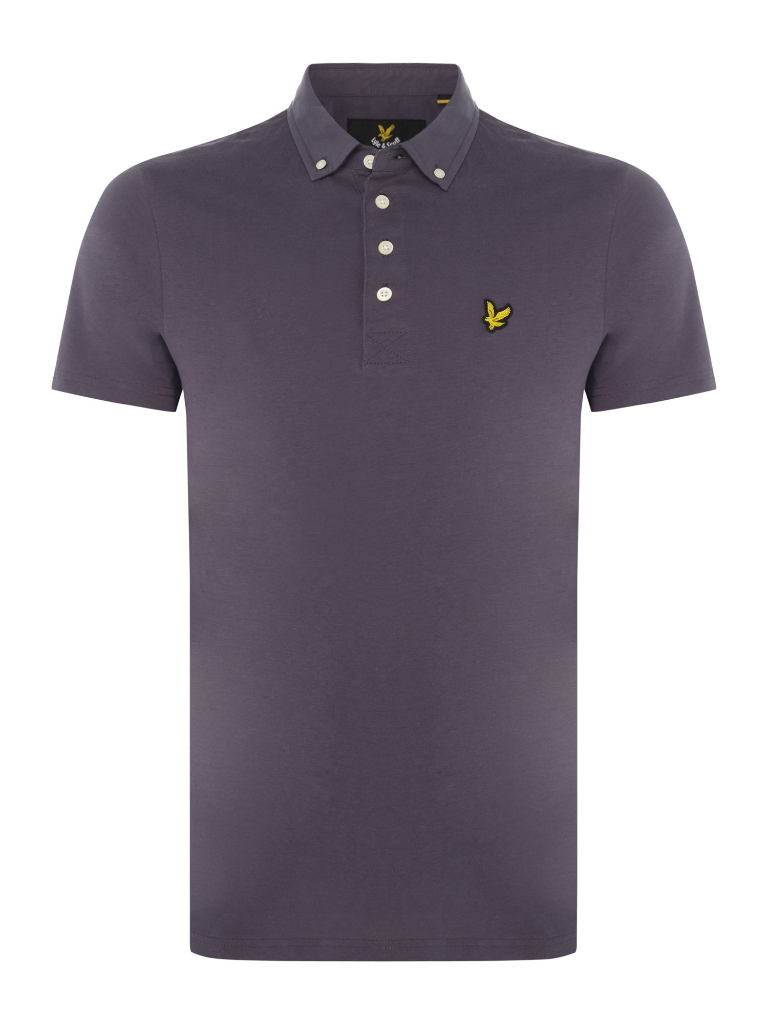 Men's Lyle and Scott Woven collar short sleeve polo, Slate