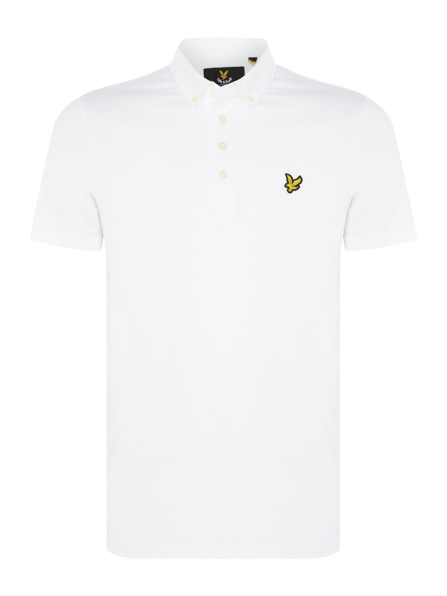 Men's Lyle and Scott Woven collar short sleeve polo, White