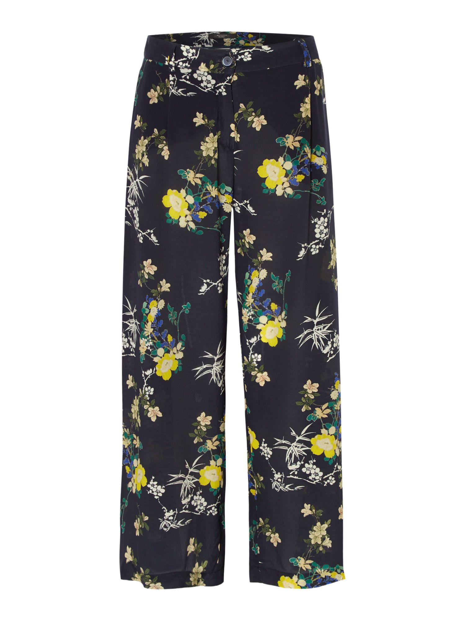 Max Mara Weekend Zulma Wide Leg Silk Printed Trouser, Ultramarine