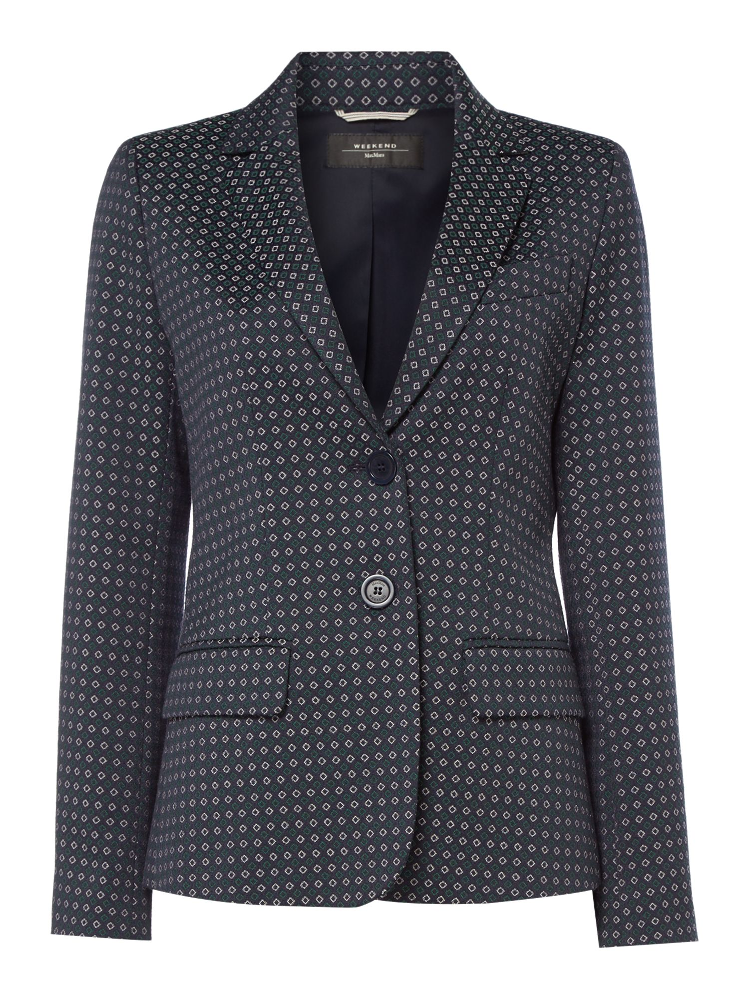 Max Mara Weekend Rosalba Printed Long Sleeve Blazer, Ultramarine