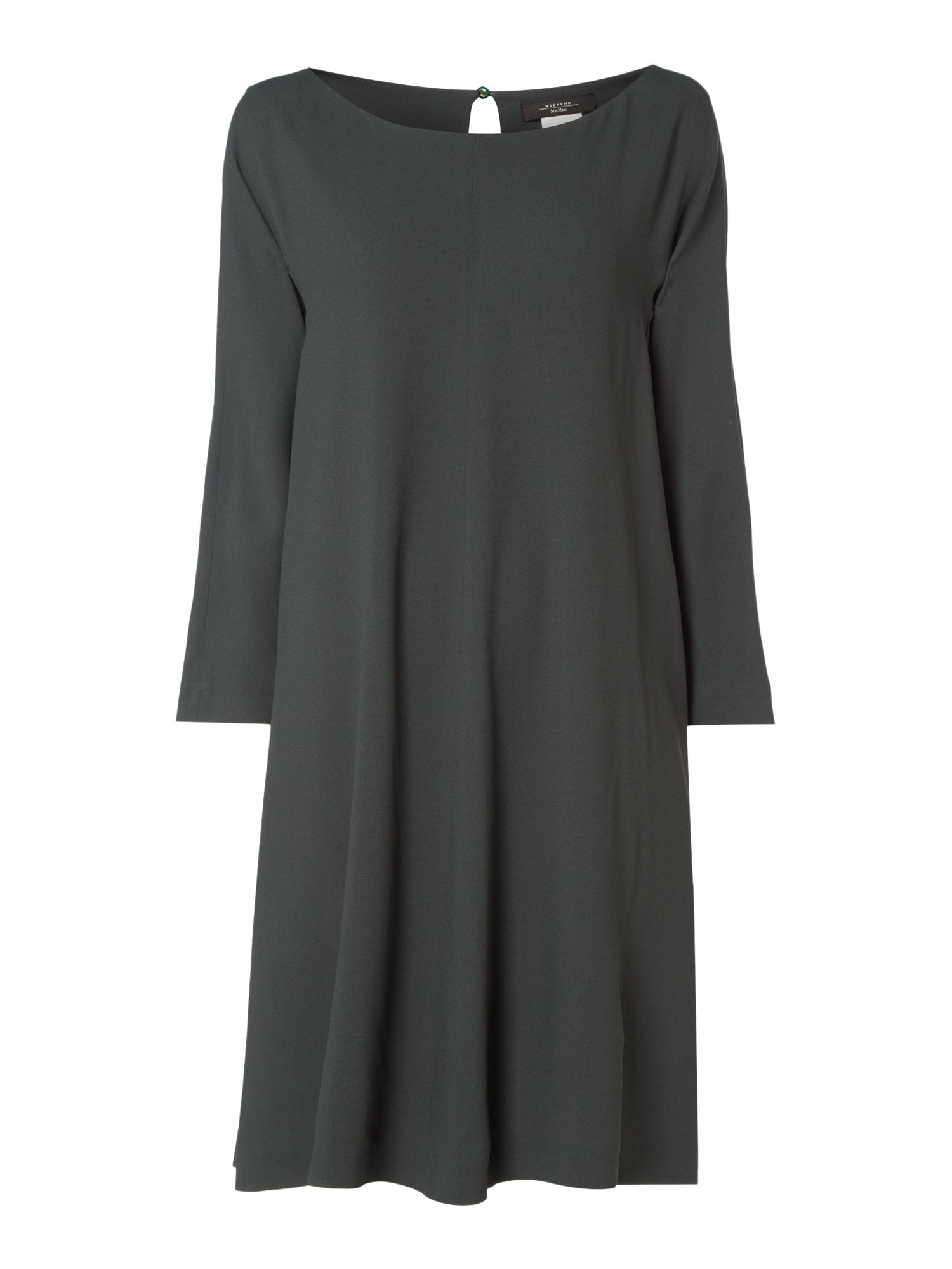 Max Mara Weekend Uberta Long Sleeve Round Neck Shift Dress, Dark Green